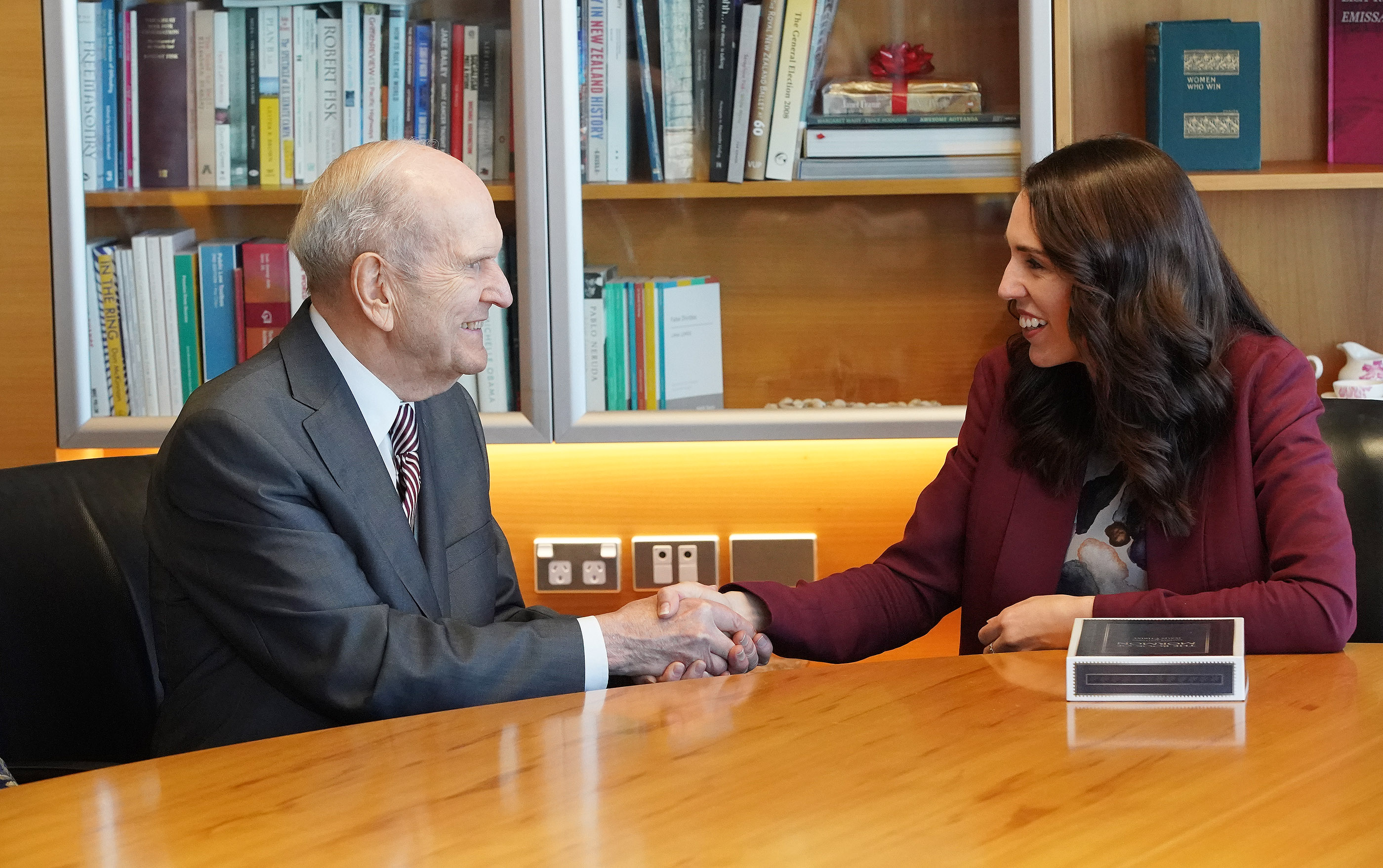 President Russell M. Nelson of The Church of Jesus Christ of Latter-day Saints meets with New Zealand Prime Minister Jacinda Ardern in Wellington, New Zealand, on Monday, May 20, 2019.