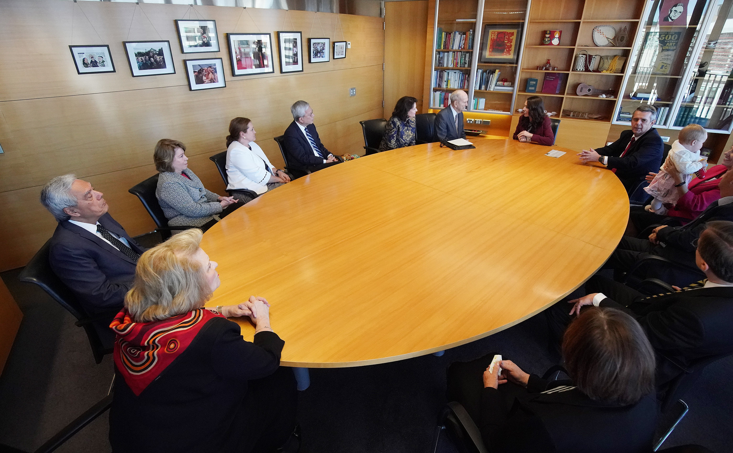 President Russell M. Nelson of The Church of Jesus Christ of Latter-day Saints and his wife, Sister Wendy Nelson, and Elder Gerrit W. Gong of the Quorum of the Twelve Apostles and his wife, Sister Susan Gong, are part of a group meeting with New Zealand Prime Minister Jacinda Ardern in Wellington, New Zealand, on Monday, May 20, 2019.