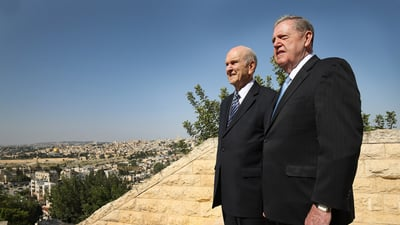 Russell M. Nelson, President of The Church of Jesus Christ of Latter-day Saints, left, and Elder Jeffrey R. Holland, Quorum of the Twelve Apostles, look over the view at the BYU Jerusalem Center in Jerusalem on Saturday, April 14, 2018. Nelson and Holland are on a global tour of eight countries.