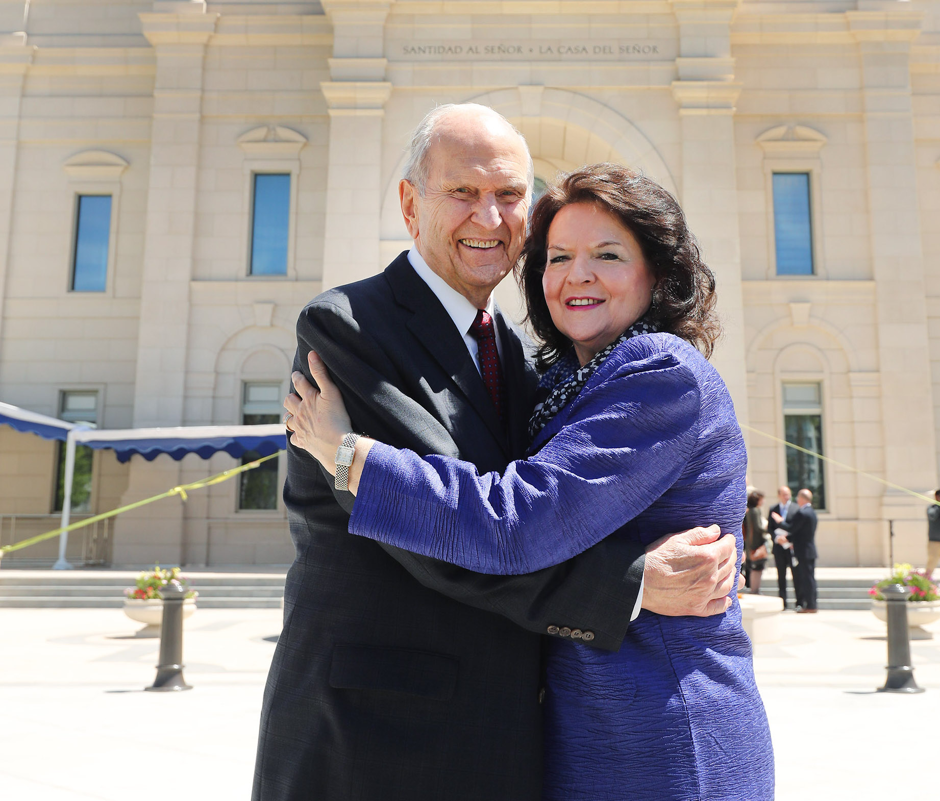 President Russell M. Nelson of The Church of Jesus Christ of Latter-day Saints and his wife Sister Wendy Nelson hug near the temple in Concepcion, Chile on Saturday, Oct. 27, 2018.