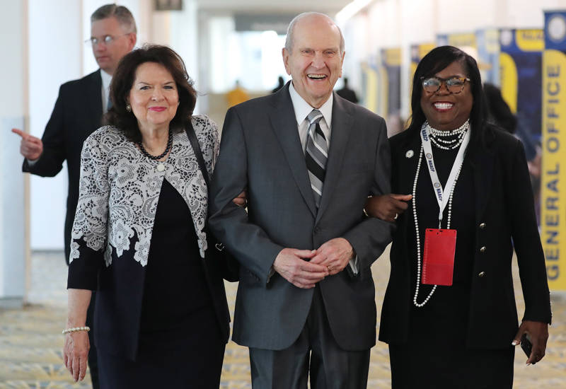 President Russell M. Nelson of The Church of Jesus Christ of Latter-day Saints and his wife Sister Wendy Nelson with the Rev. Theresa Deer while meeting with NAACP leaders at the 110th annual national convention for the National Association for the Advancement of Colored People in Detroit on Sunday, July 21, 2019.
