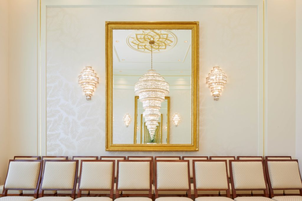 A photo of detail work, including chandeliers, inside the Port-au-Prince Haiti Temple, which will be open to the public during an open house beginning Thursday, Aug. 8, through Saturday, Aug. 17, 2019.