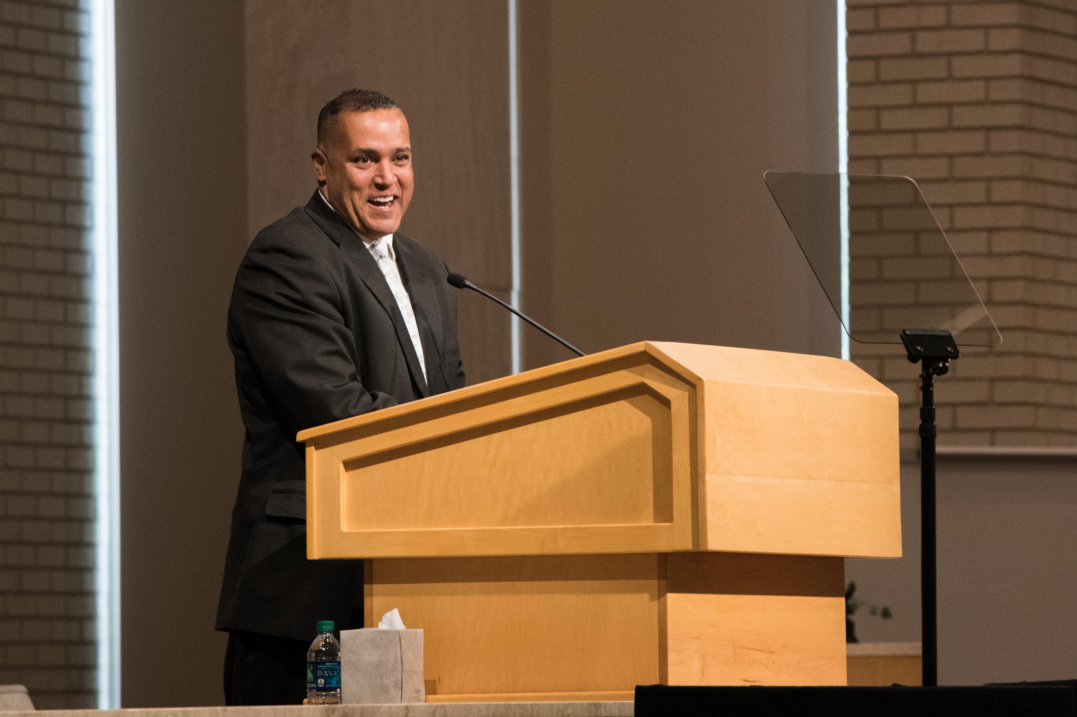 Eric Richards speaks during his BYU-Idaho Education Week keynote address.