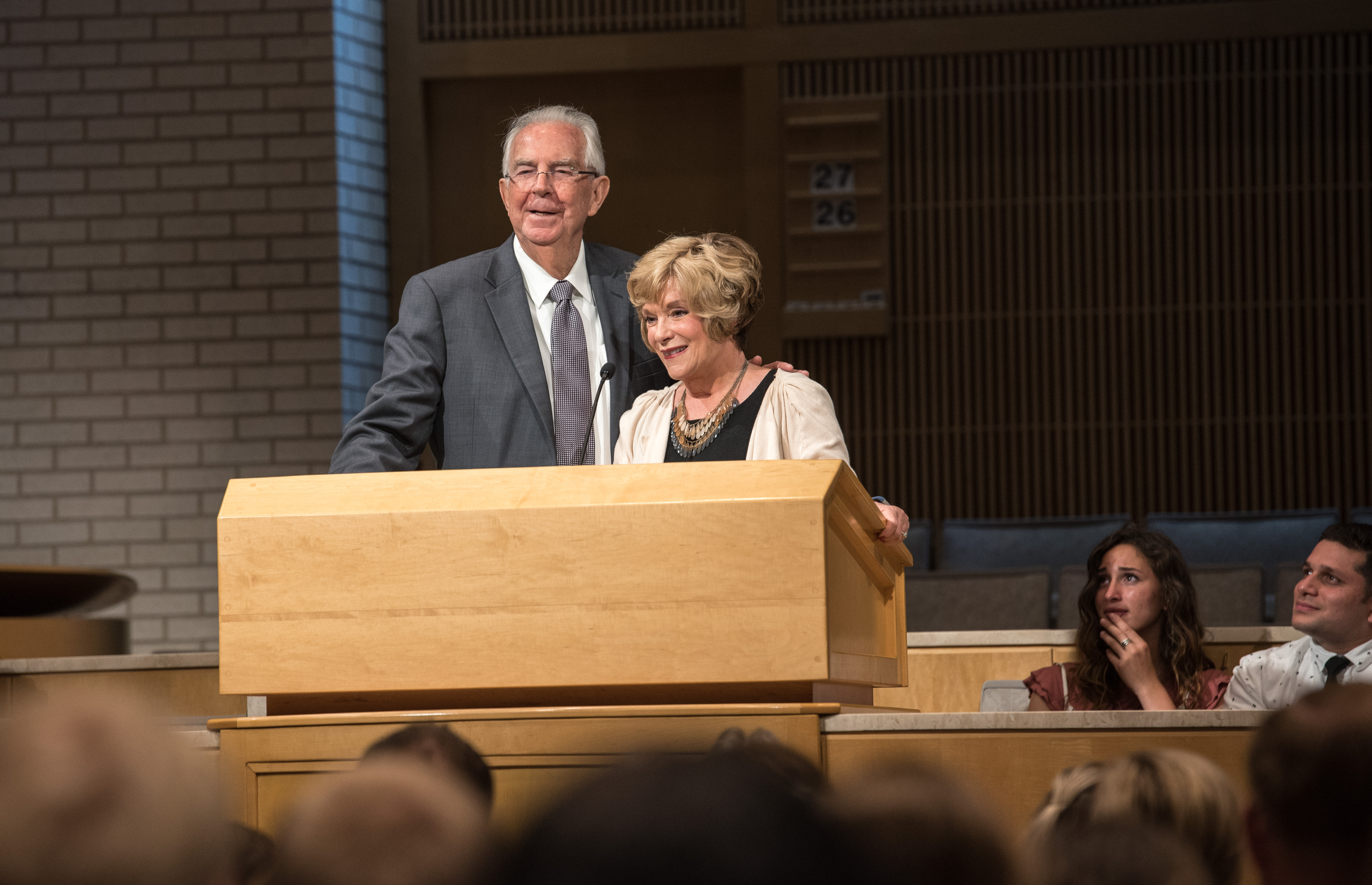 George D Durrant and Susan Easton Black speak during the closing session of BYU-Idaho Education Week.