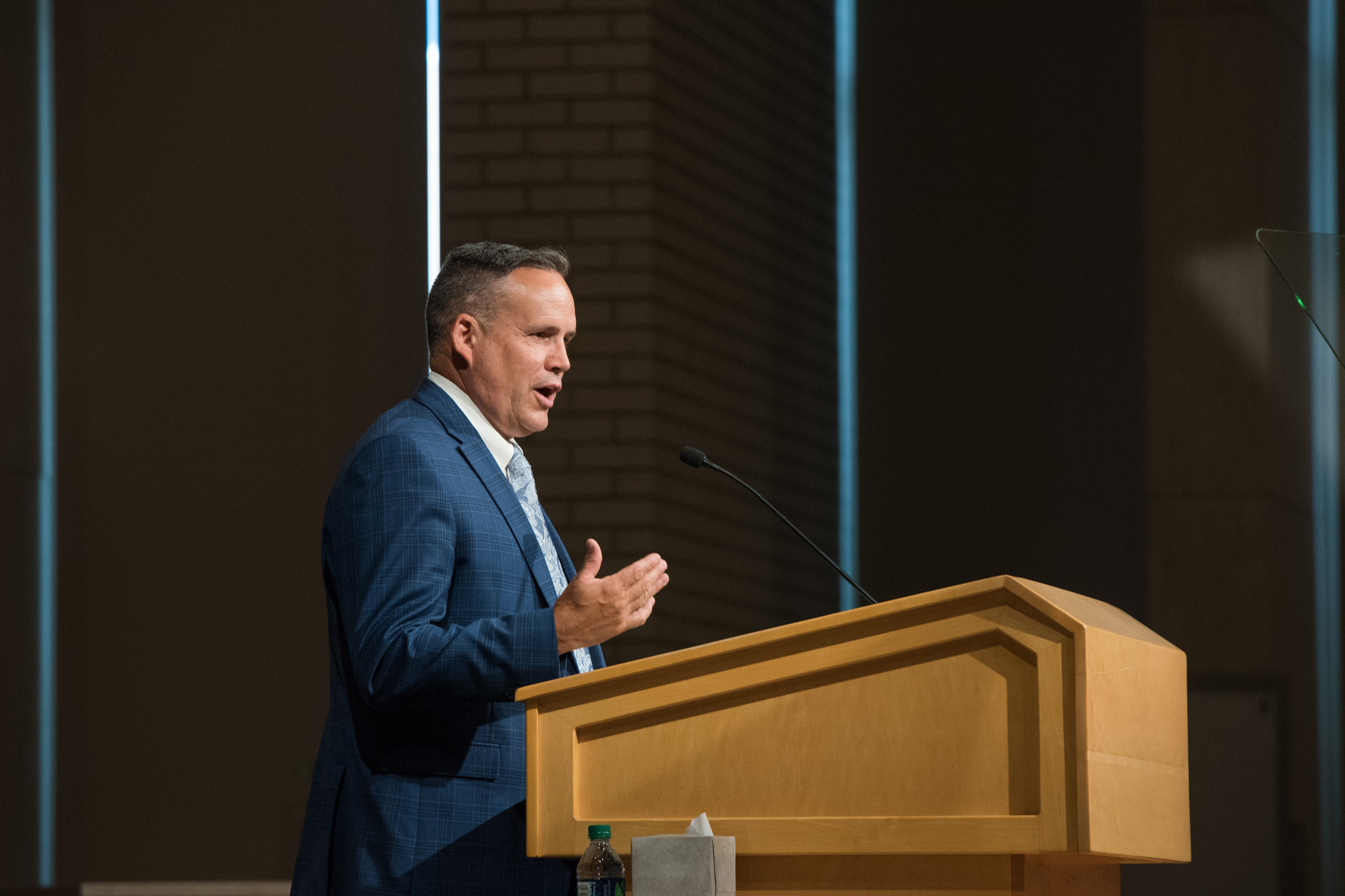 Steve Davis speaks during a BYU-Idaho Education Week devotional.