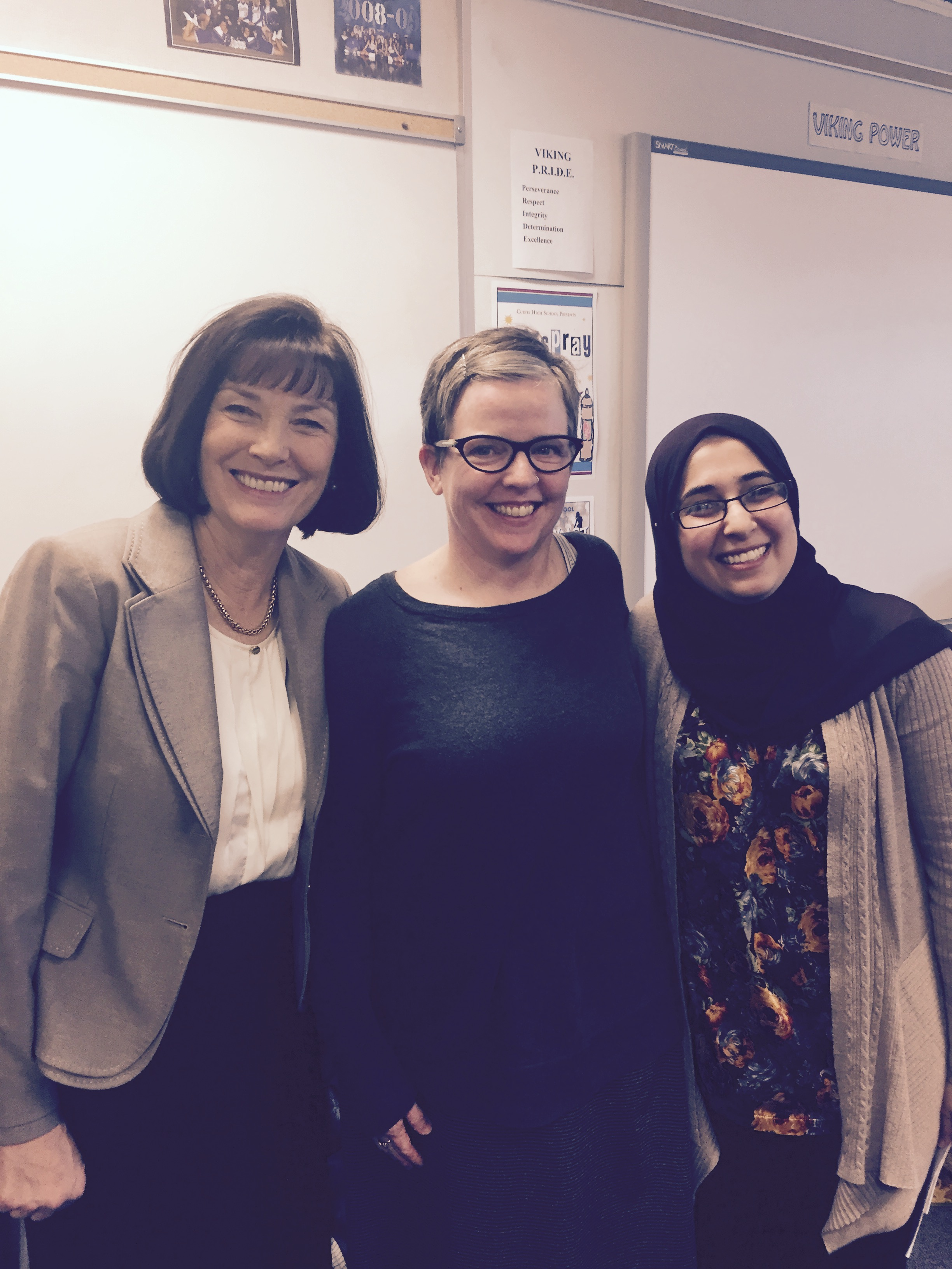 From left to right: Sister Linda Reeves, former first Counselor in the Relief Society general presidency, stands with a Jewish woman and an Islamic woman, after participating in a workshop on prayer during the 2017 Associated Ministries Interfaith Women's Conference.