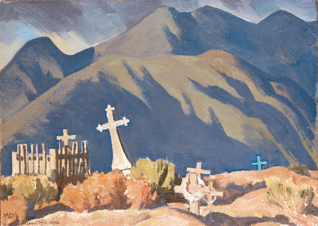 "Several works of art in the BYU-MOA exhibition ""Rend the Heavens"" explores the presence of God during the trials of mortality — including death, as depicted in Maynard Dixon's oil ""Sketch for Campo Santo."""
