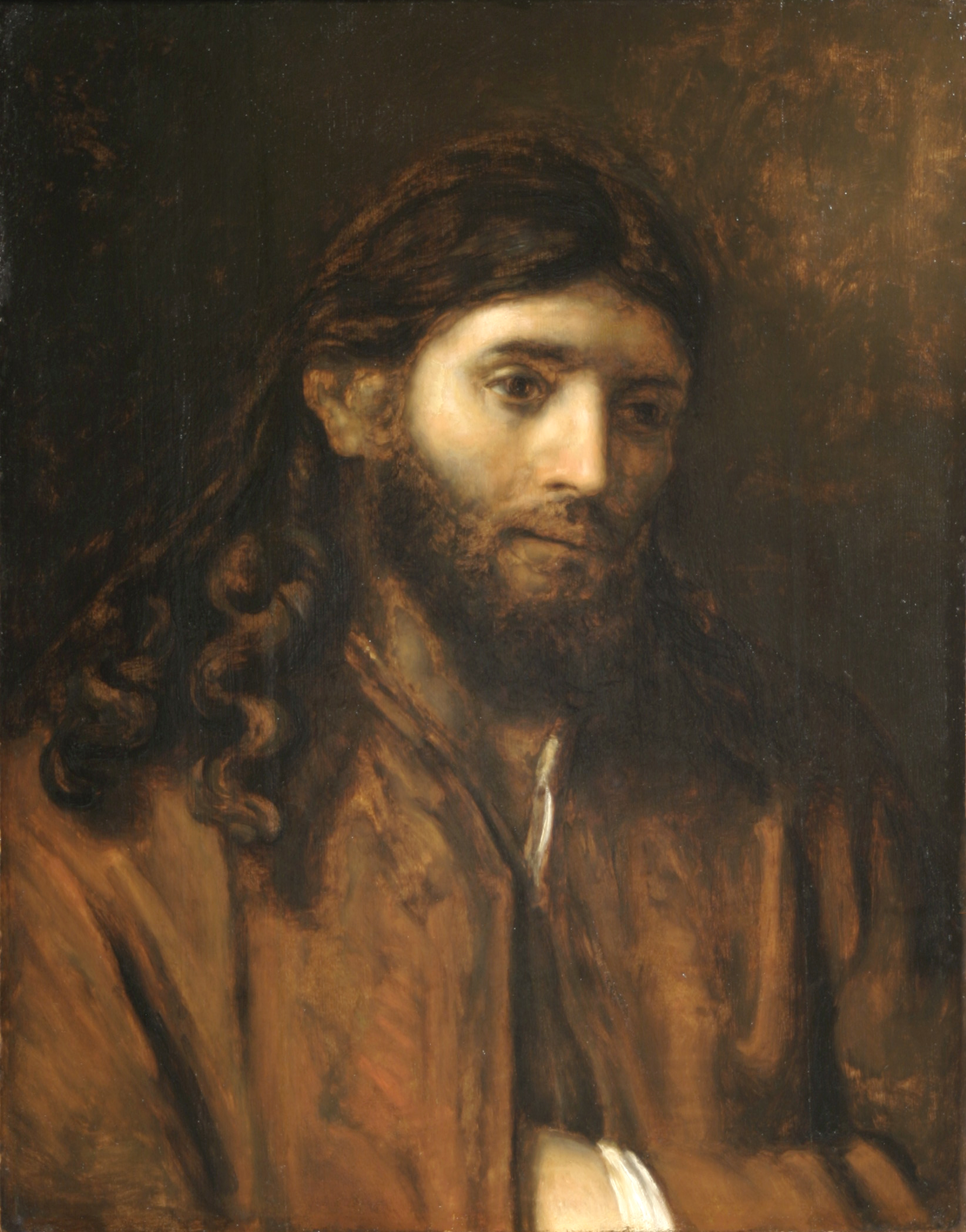 "The mortal Christ is depicted in Rembrandt's ""Head of Christ,"" an oil from the 17th Century. A key element of BYU's ""Rend the Heavens"" is Christ's mortal ministry that culminated with the Atonement."