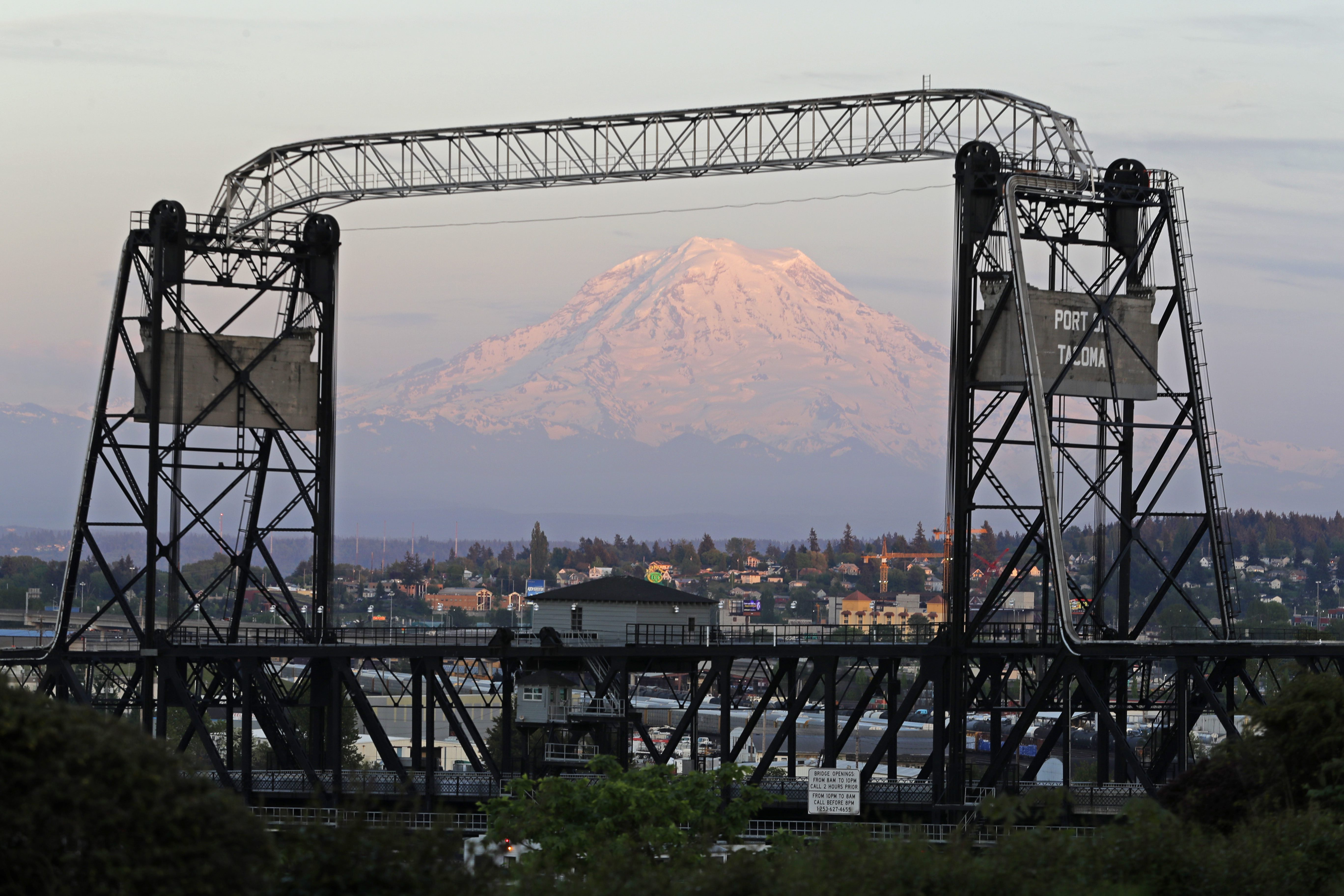 Mount Rainier framed by the Murray Morgan Bridge in downtown Tacoma, Wash. on May 7, 2018. Tacoma is part of Pierce County where several women and Church members are finding unique ways to contribute to their communities.