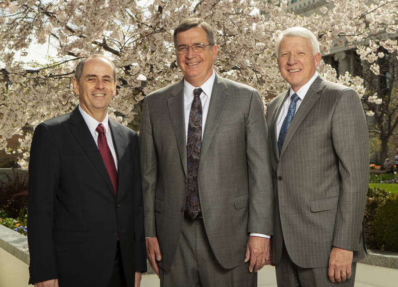 New Sunday School general presidency, from left: Brother Milton daRocha Camargo, first counselor; Brother Mark L. Pace, president; and Brother Jan E. Newman, second counselor; pose for photos at the Church Office Building in Salt Lake City on Monday, April 8, 2019.