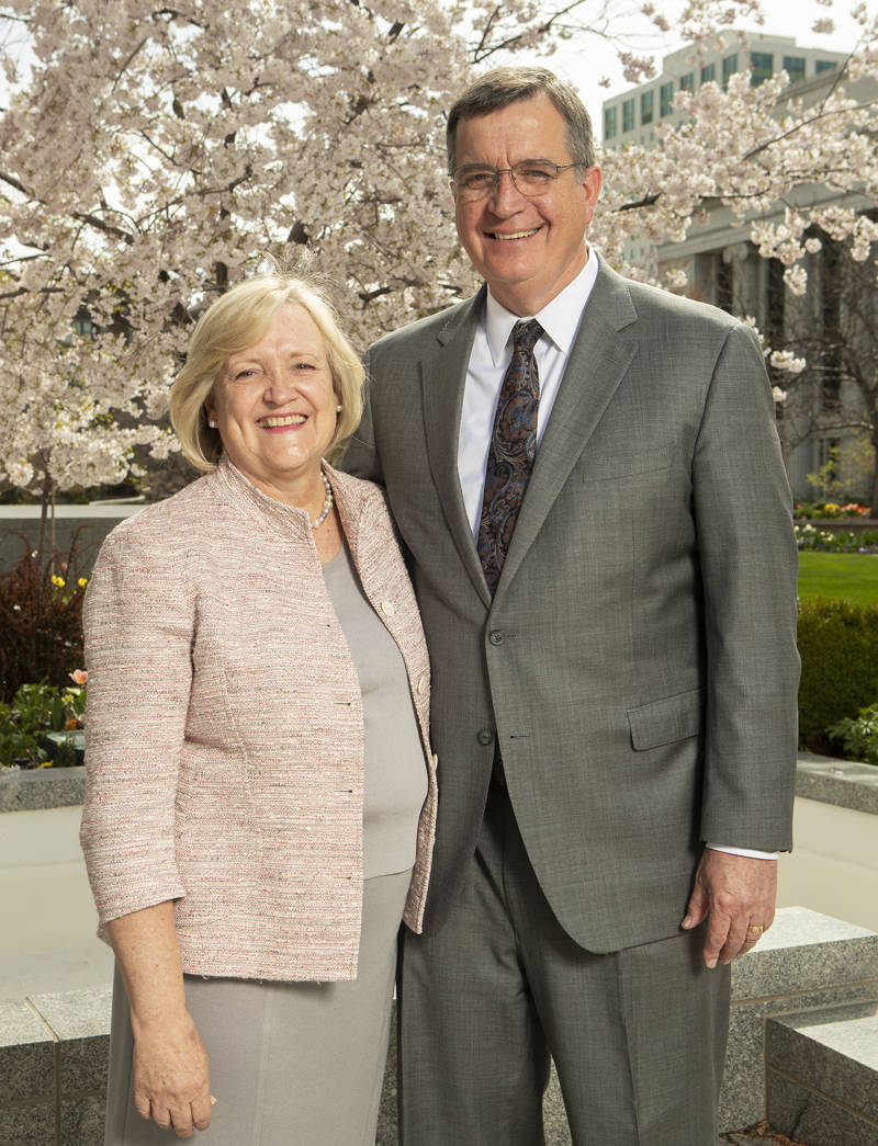 Sister Anne Marie Pace and Brother Mark L. Pace, who was called as Sunday School general president in the Saturday session of April 2019 general conference, pose for photos at the Church Office Building in Salt Lake City on Monday, April 8, 2019.