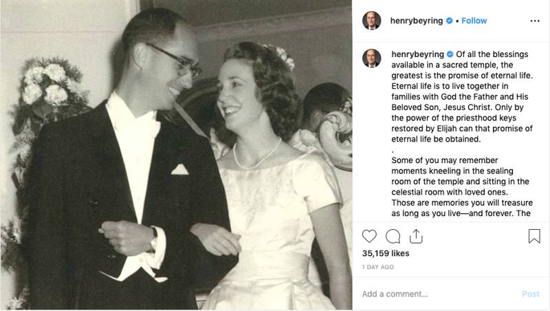 """Eternal life is to live together in families with God the Father and His Beloved Son, Jesus Christ,"" President Henry B. Eyring wrote in a July 11, 2019, Instagram post."