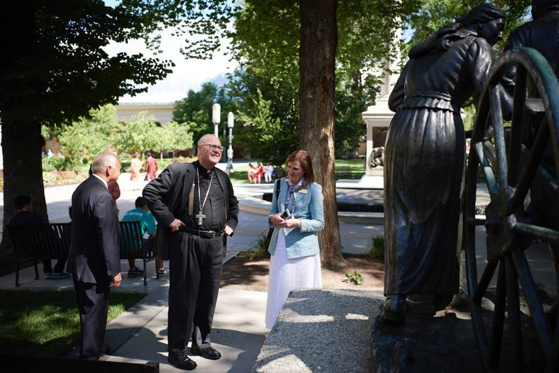 Timothy Cardinal Dolan, Archbishop of New York, tours Temple Square in Salt Lake City, Utah, on Monday, July 1, 2019.
