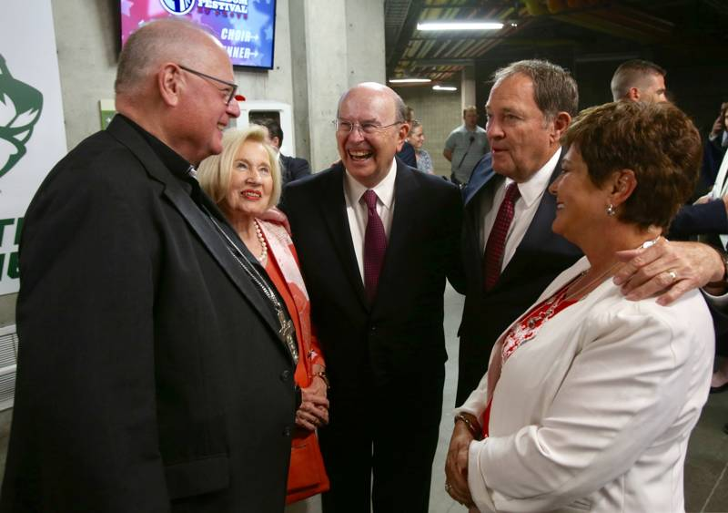 From left, Timothy Cardinal Dolan meets Sister Mary Cook, Elder Quentin L. Cook of the Quorum of the Twelve Apostles, Utah Gov. Gary Herbert and Jeanette Herbert prior to speaking at the patriotic service for the America's Freedom Festival at Provo at Utah Valley University in Orem, Utah, on Sunday, June 30, 2019.