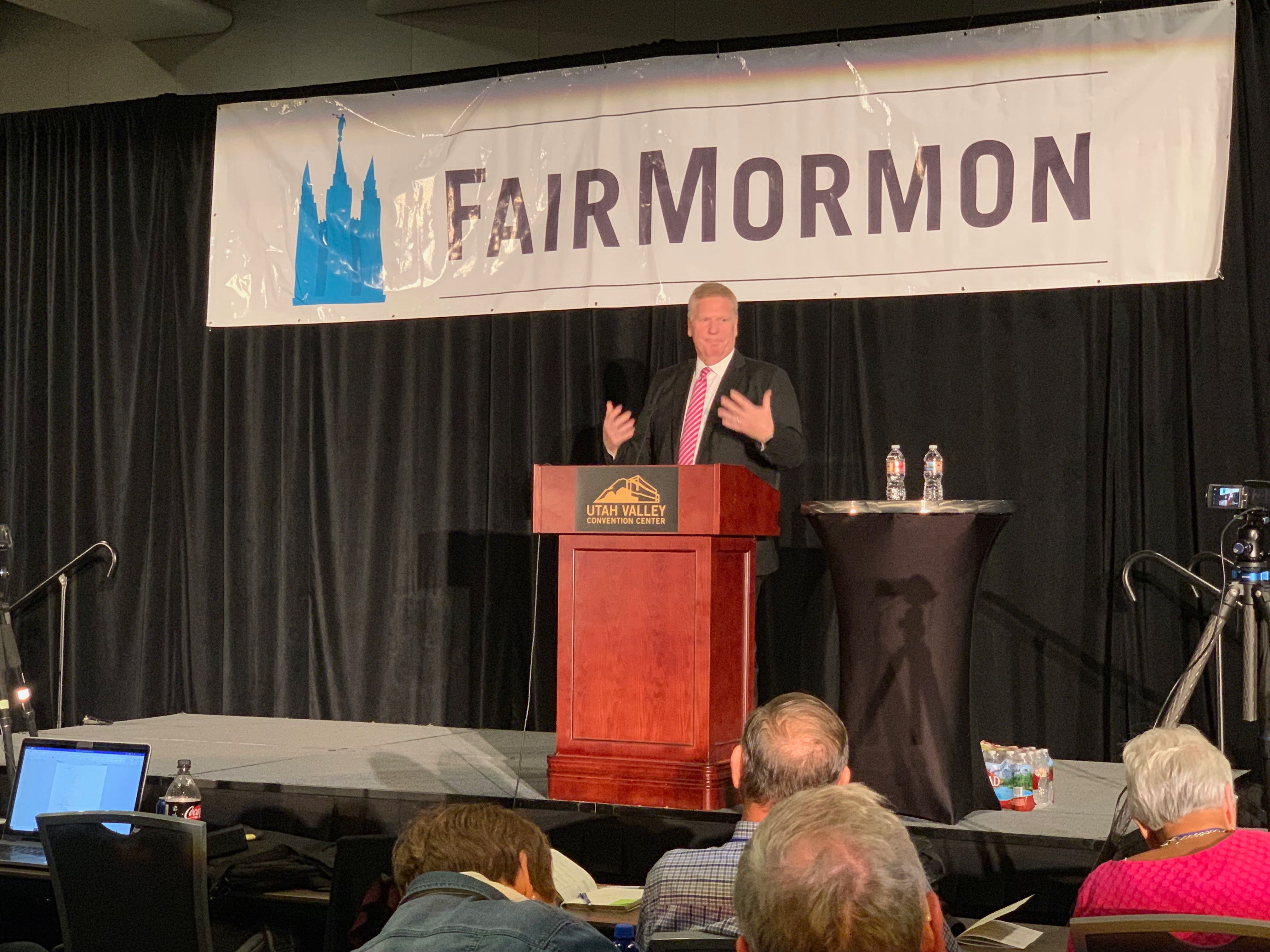 Elder Craig C. Christensen, General Authority Seventy, speaks during the FairMormon conference on Friday, Aug. 9, 2019 at the Utah Valley Convention Center in Provo, Utah.
