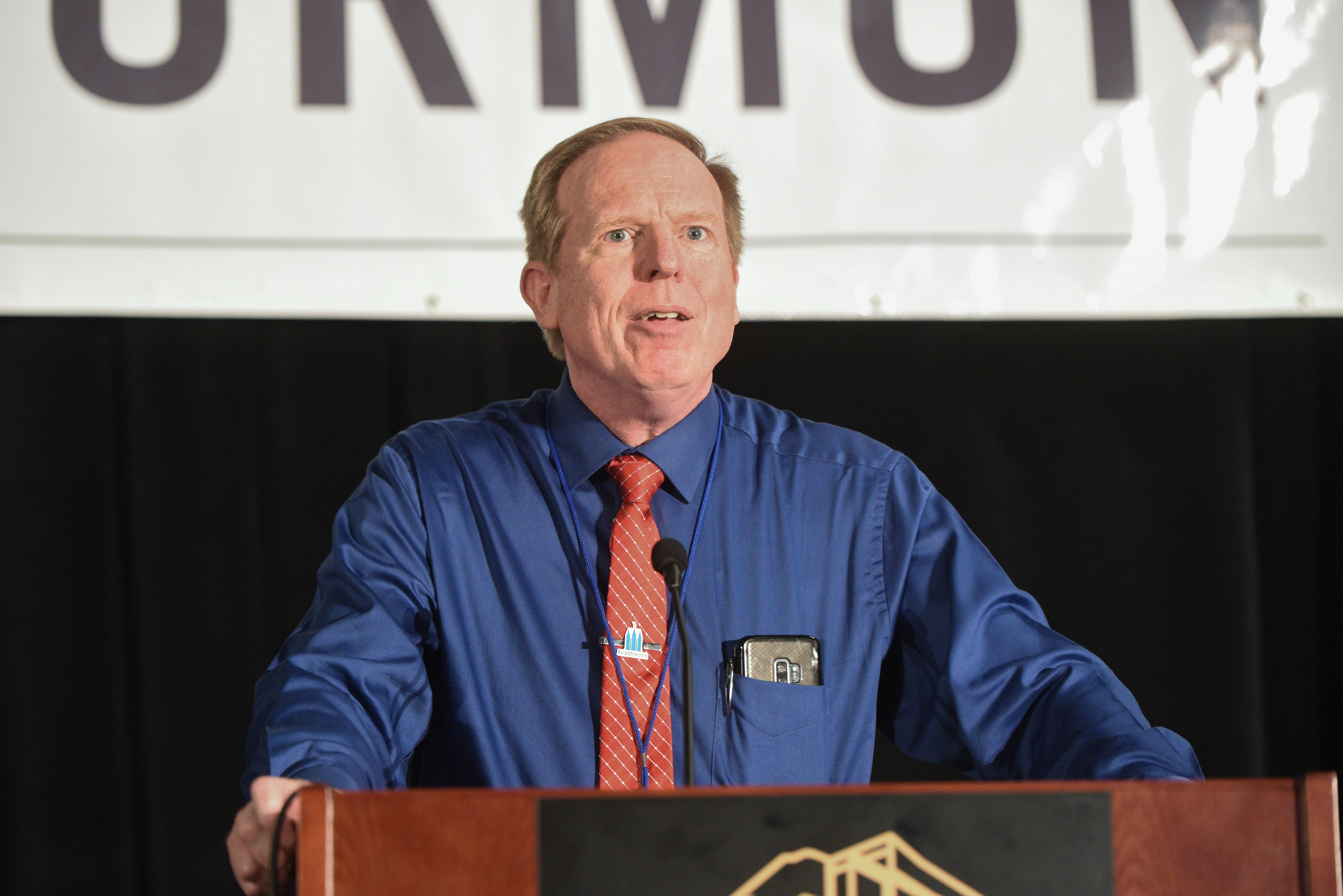 Scott Gordon, president of FairMormon, speaks during the FairMormon conference on Friday, Aug. 9, 2019 at the Utah Valley Convention Center in Provo, Utah.