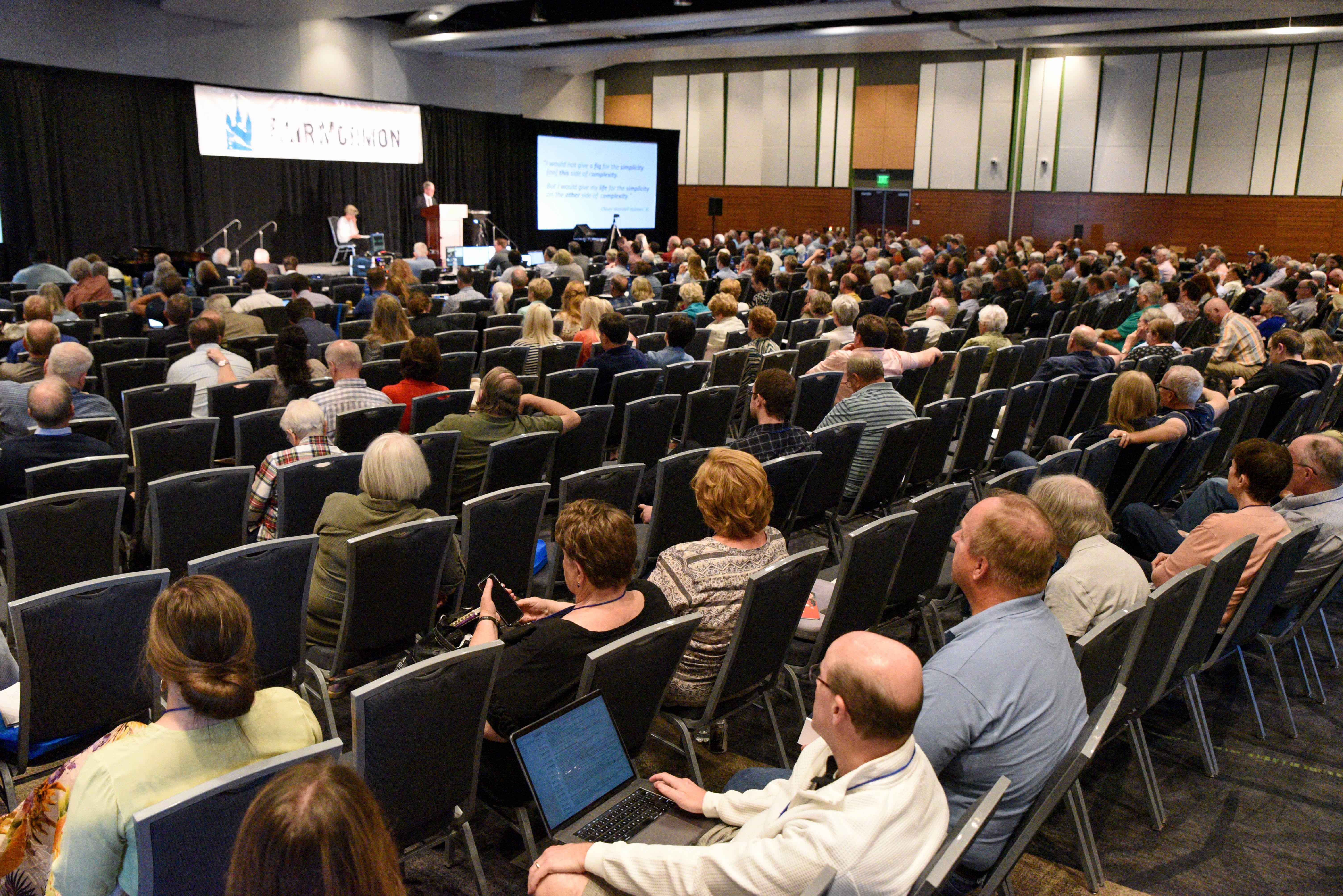 Attendees at the FairMormon conference listen to guest speakers during a conference session on Friday, Aug. 9, 2019 at the Utah Valley Convention Center in Provo, Utah.
