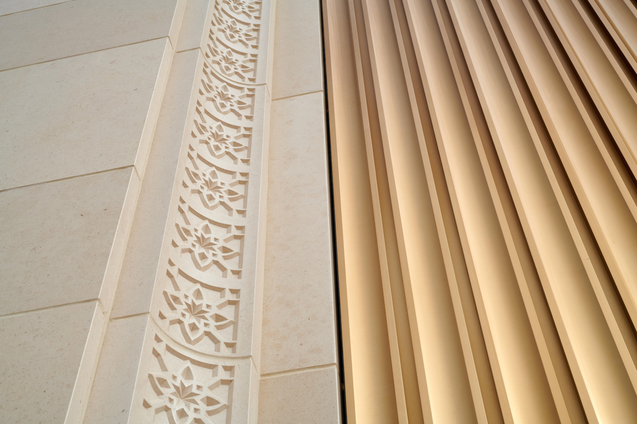 Detailed decor on the outside of the Lisbon Portugal Temple.