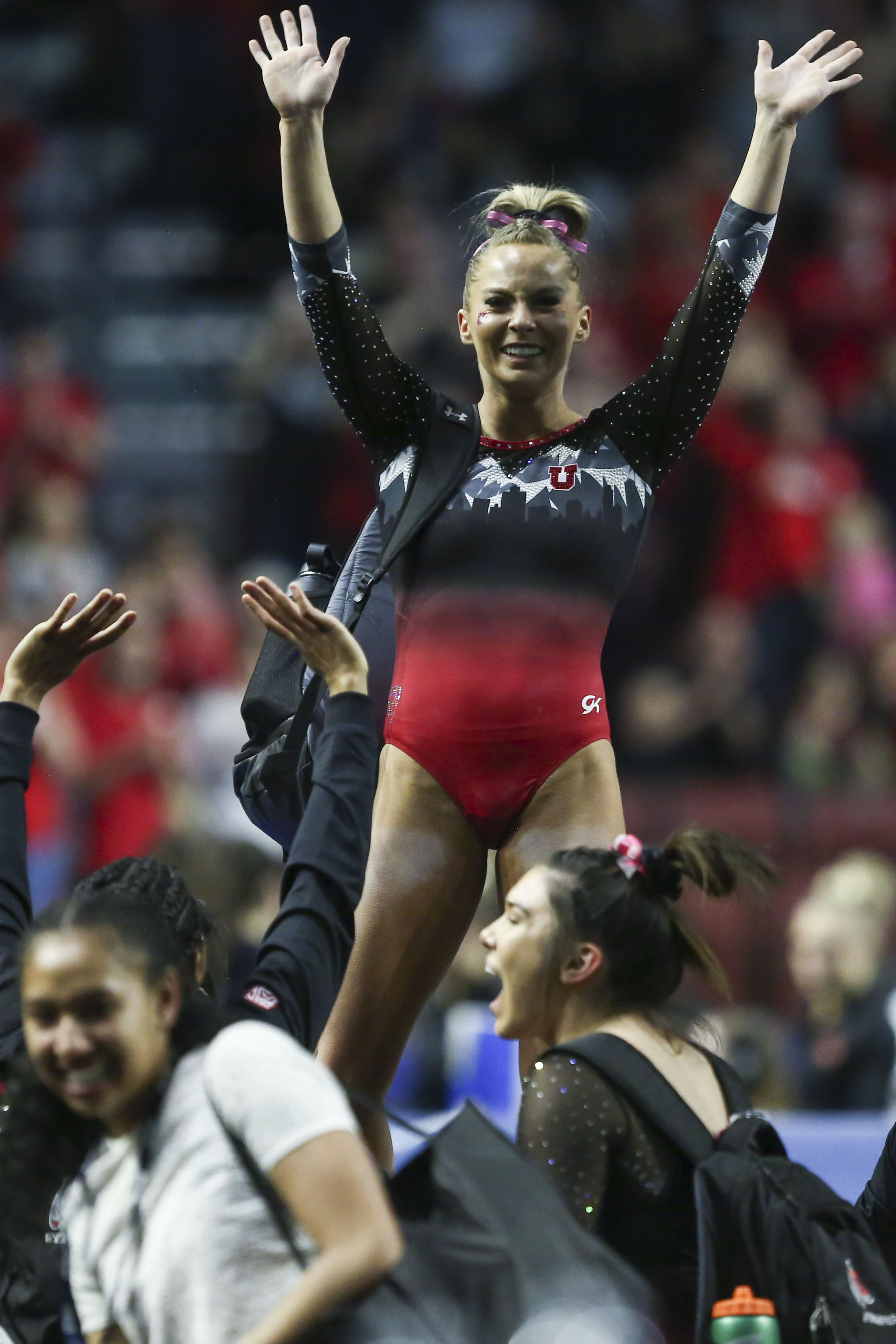 University of Utah junior MyKayla Skinner finishes her floor performance during the Pac-12 gymnastics championship at the Maverick Center in West Valley City on Saturday, March 23, 2019. Skinner was awarded a perfect score of 10 by the judges.