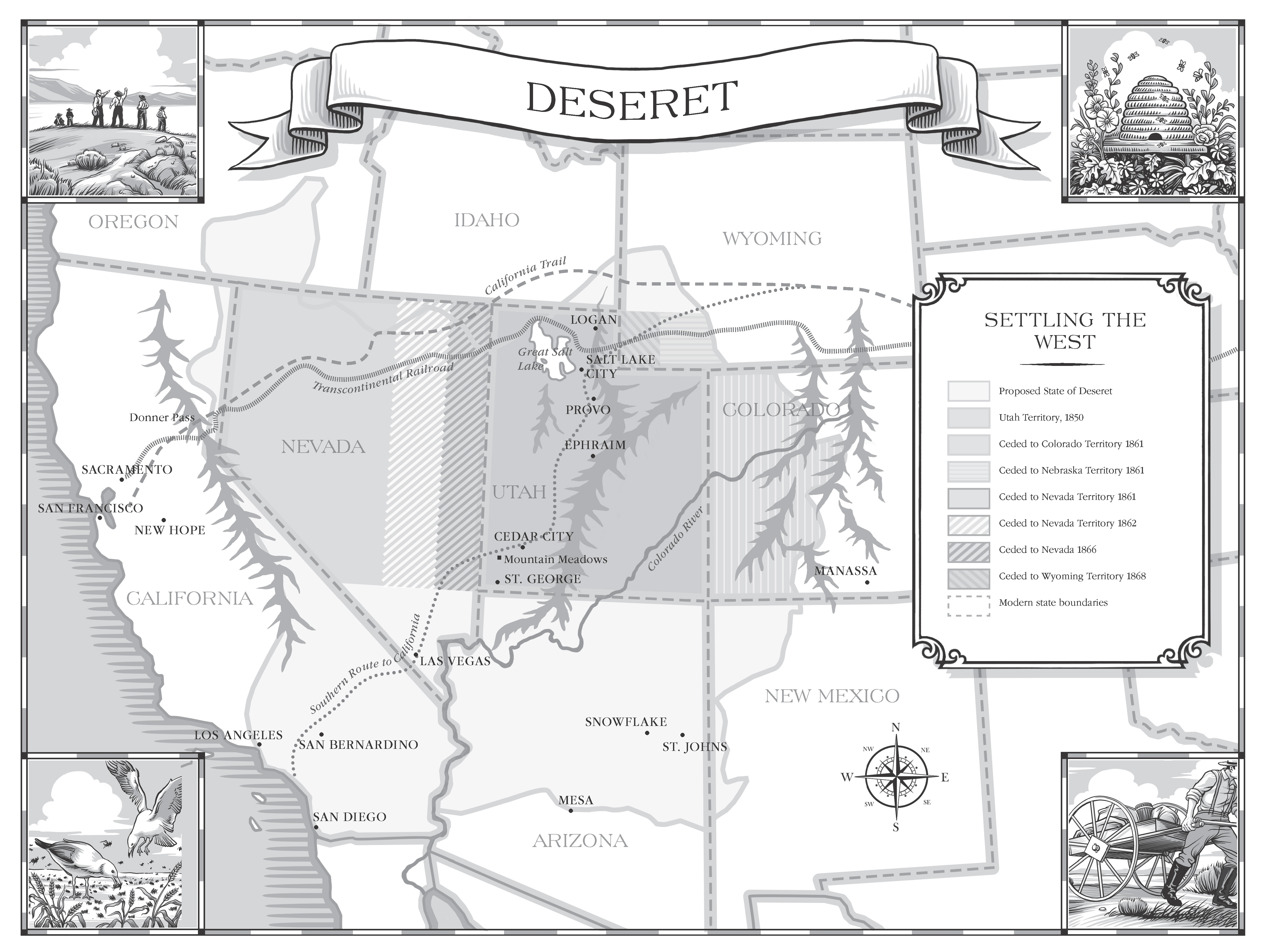 A map of the land that would have made up the state of Deseret.
