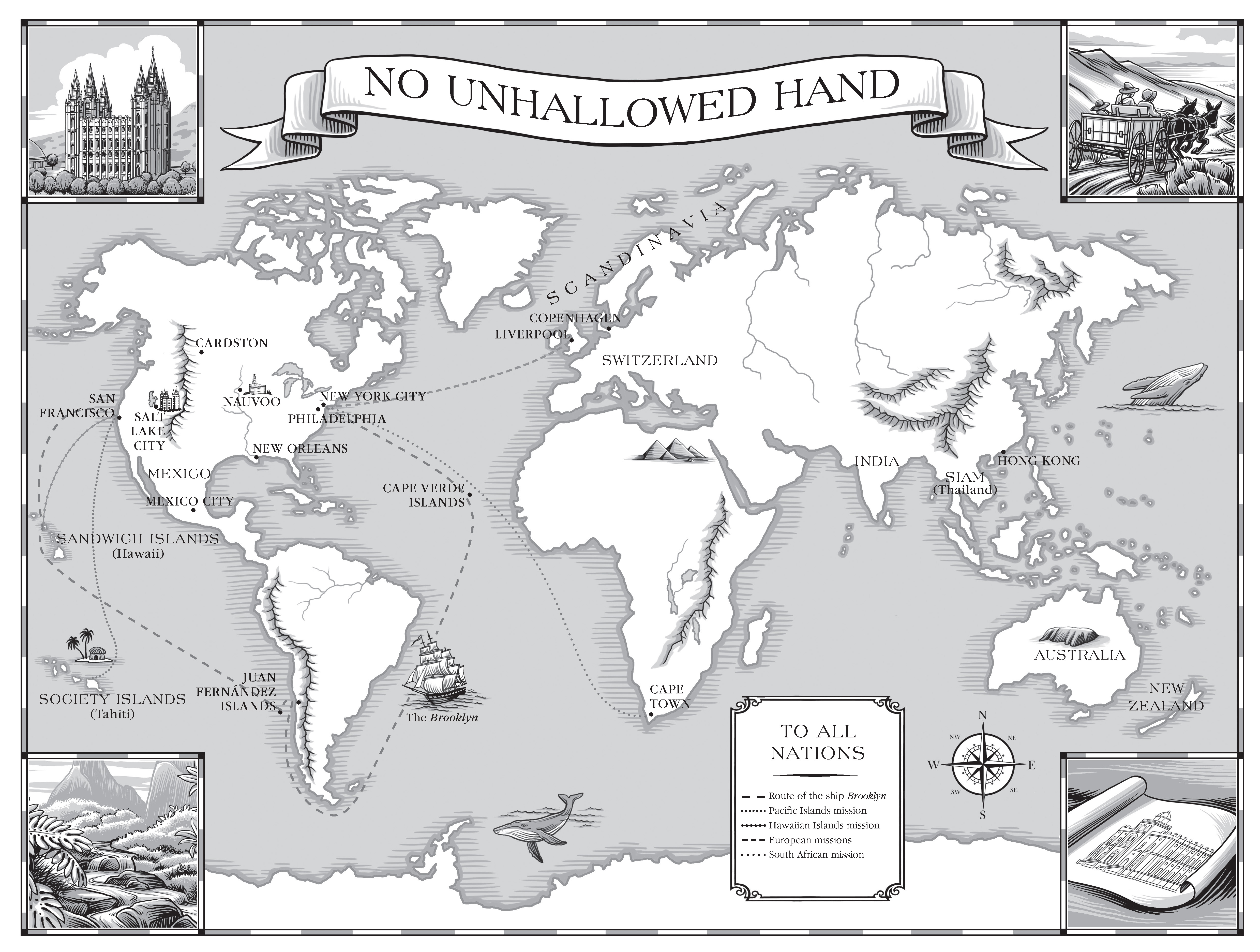 A map of the world marking where early missionaries were sent.