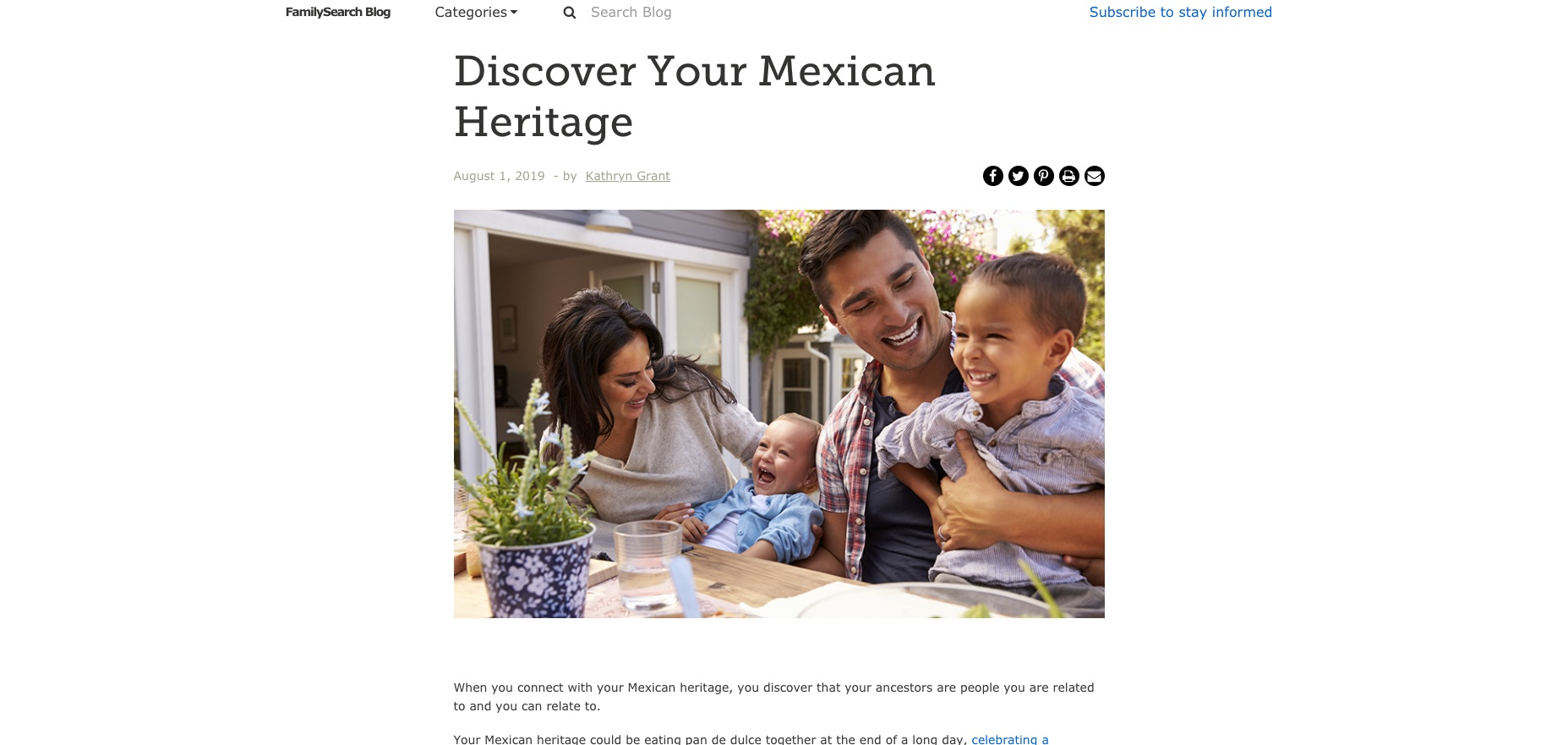 """A screenshot of a post in the FamilySearch Blog, entitled """"Discover Your Mexican Heritage."""""""