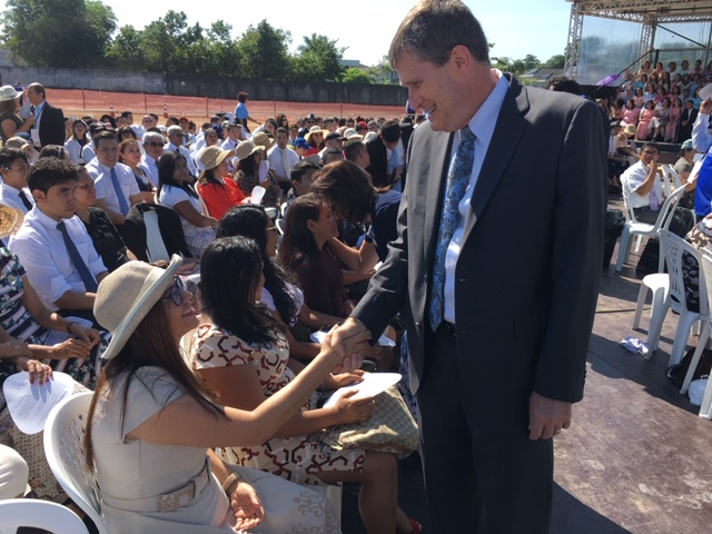 Elder Marcos A. Aidukaitis, president of the Brazil Area for the Church, greets Latter-day Saints and others attending the Belém Brazil Temple groundbreaking on Saturday, Aug. 17, 2019.