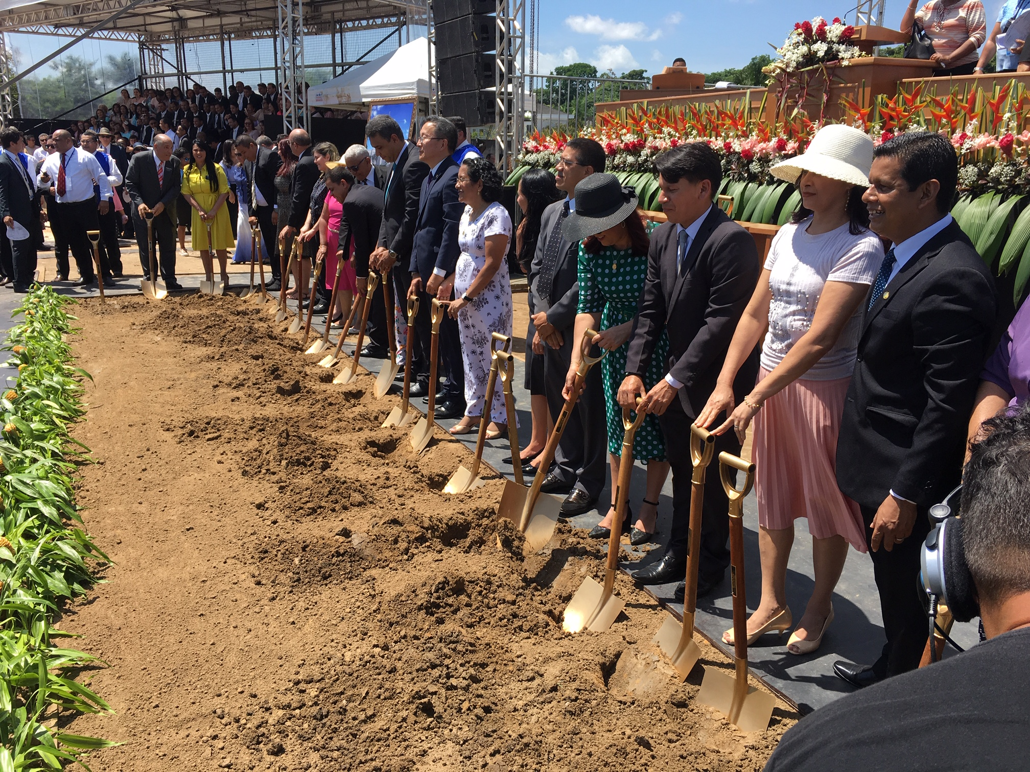 Latter-day Saints and guests were invited to turn a shovel of dirt at the groundbreaking of the Belém Brazil Temple on Saturday, Aug. 17, 2019.