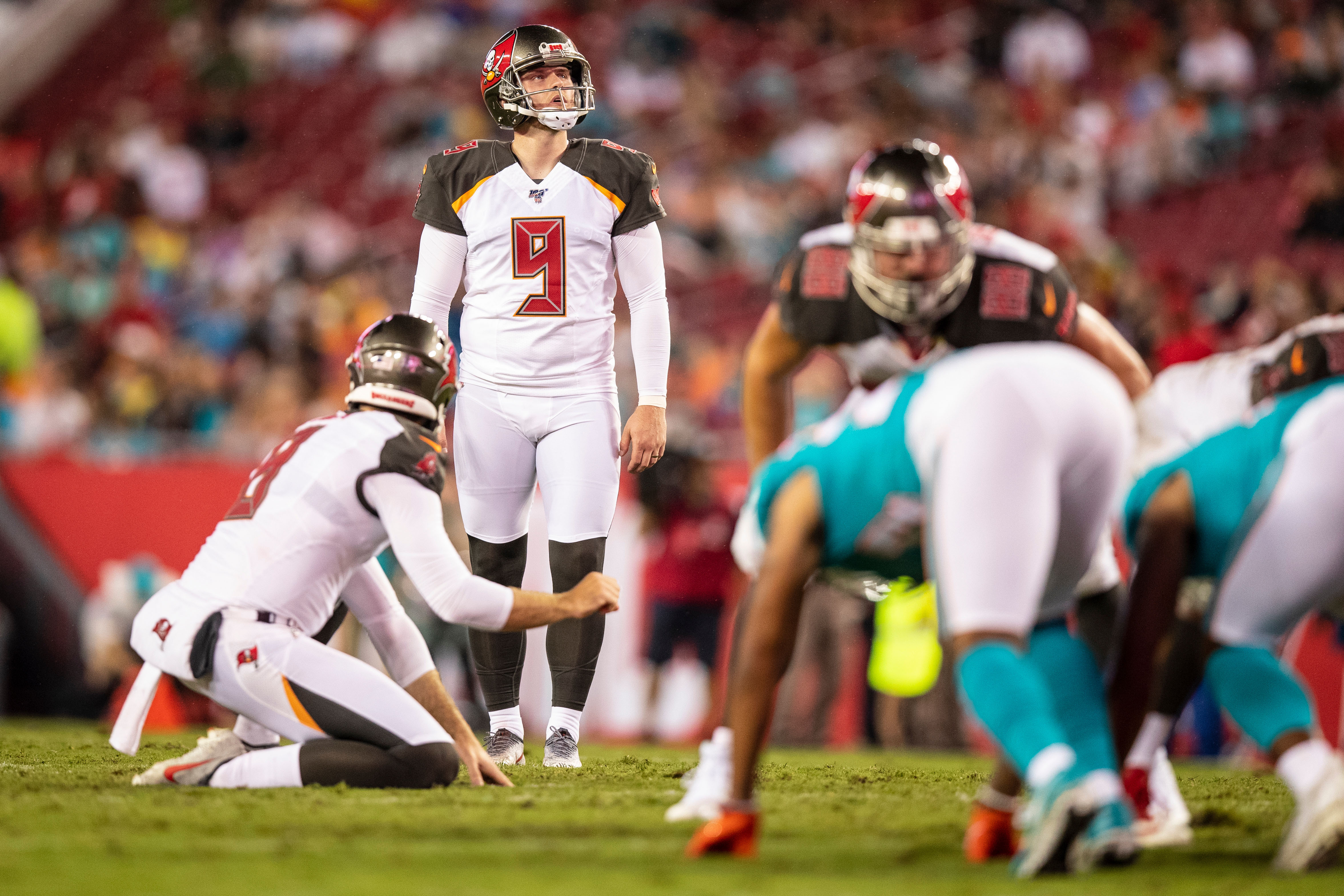 Kicker Matt Gay, No. 9, of the Tampa Bay Buccaneers lines up a kick during the preseason game against the Miami Dolphins at Raymond James Stadium. The Buccaneers won the game, 16-14.