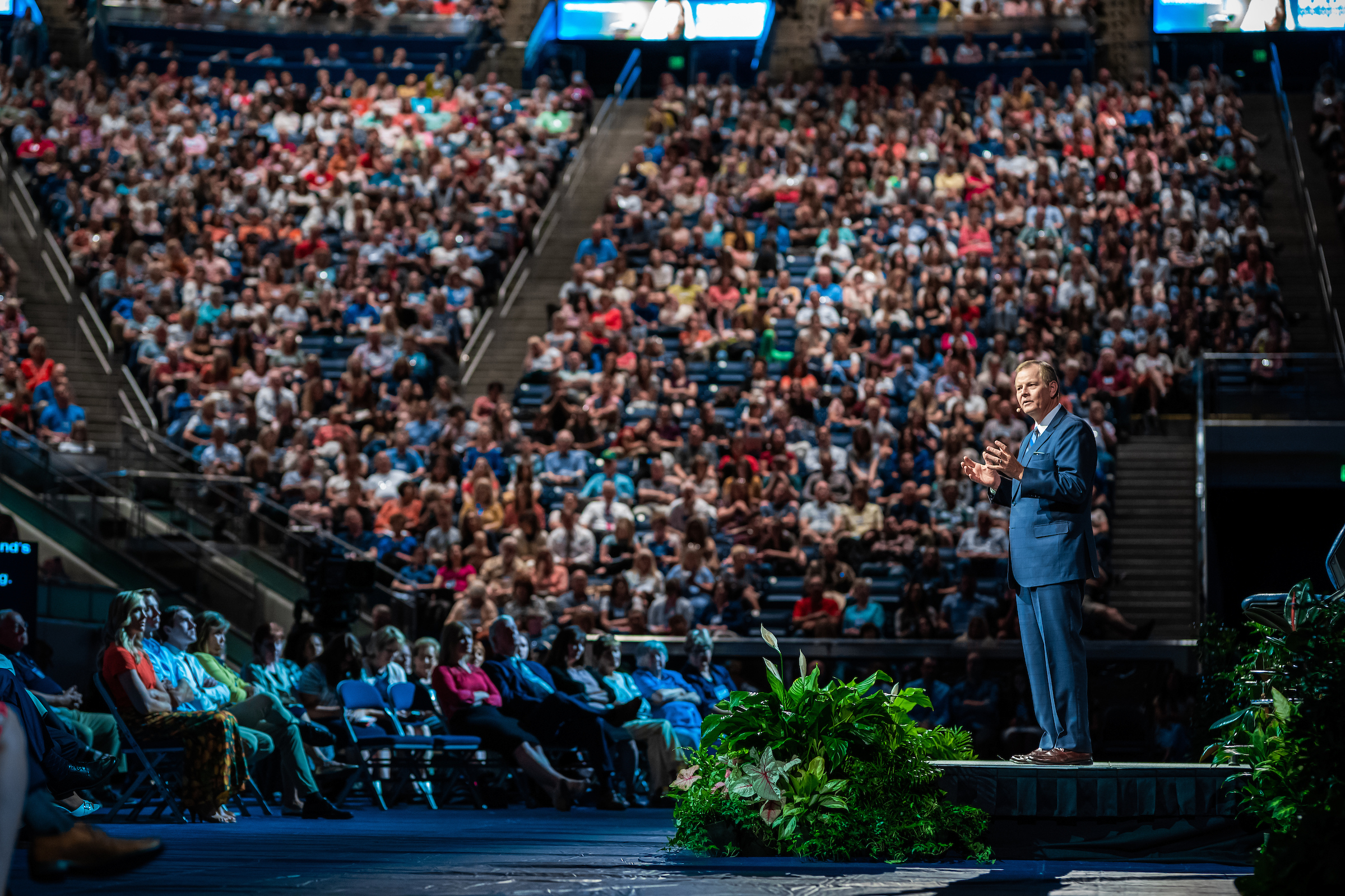 Elder Gary E. Stevenson speaks at a BYU devotional, during Education Week, Tuesday, August 20 2019.