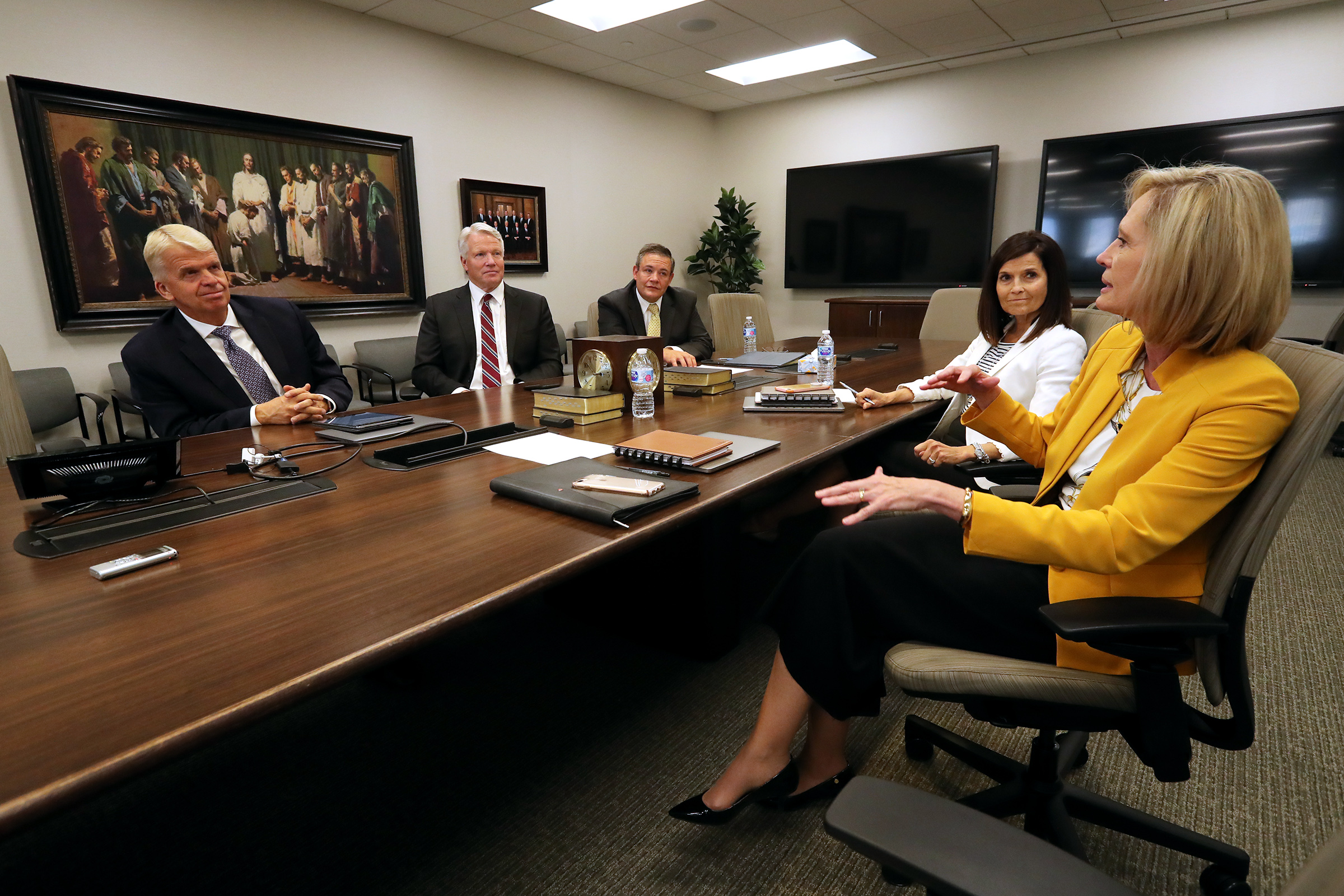 From left, Brother Stephen W. Owen, Brother Douglas B. Holmes and Brother M. Joseph Brough of the Young Men general presidency, join Sister Bonnie H. Cordon and Sister Becky Craven of the Young Women general presidency on Tuesday, Aug. 20, 2019, at the Church Office Building in Salt Lake City to discuss what the 2020 youth theme means and how it connects to the forthcoming Children and Youth program.