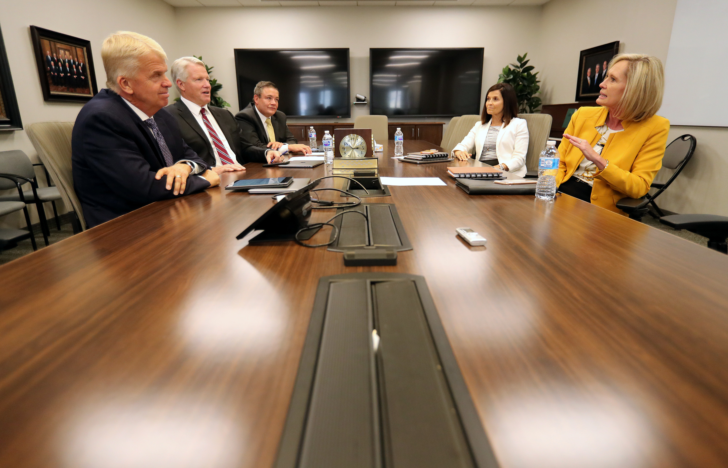 From left, Brother Stephen W. Owen, Brother Douglas D. Holmes and Brother M. Joseph Brough of the Young Men general presidency, along with Sisters Bonnie H. Cordon and Becky Craven of the Young Women general presidency gather on Tuesday, Aug. 20, 2019, at the Church Office Building in Salt Lake City to discuss what the 2020 youth theme means and how it connects to the forthcoming Children and Youth program.
