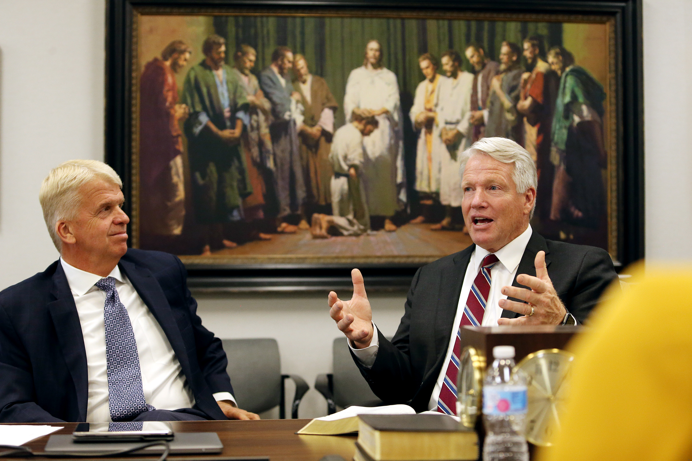 Brother Stephen W. Owen makes a comment as he and Brother Douglas D. Holmes, left, participate in a discussion between the Young Men and Young Women general presidencies on the 2020 youth theme Tuesday, Aug. 20, 2019, at the Church Office Building in Salt Lake City.