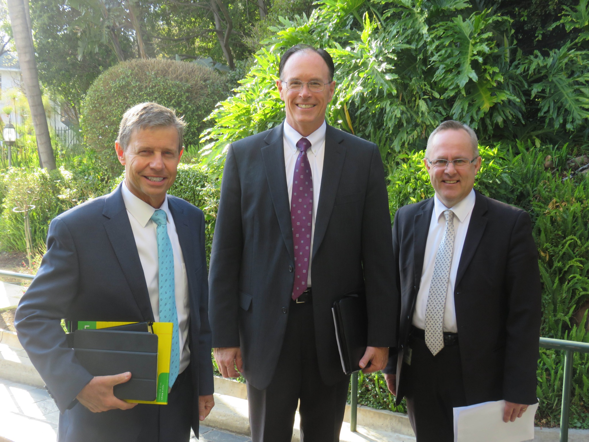 From left: Elder S. Mark Palmer, Africa Southeast Area; Bishop W. Christopher Waddell, second counselor in the Presiding Bishopric; and Marius von Mollendorff, director of temporal affairs for the Africa Southeast Area; are photographed together in Johannesburg, where they made the Aug. 19, 2019, announcement regarding the offices of the new Africa Central Area. Intellectual Reserve, Inc.