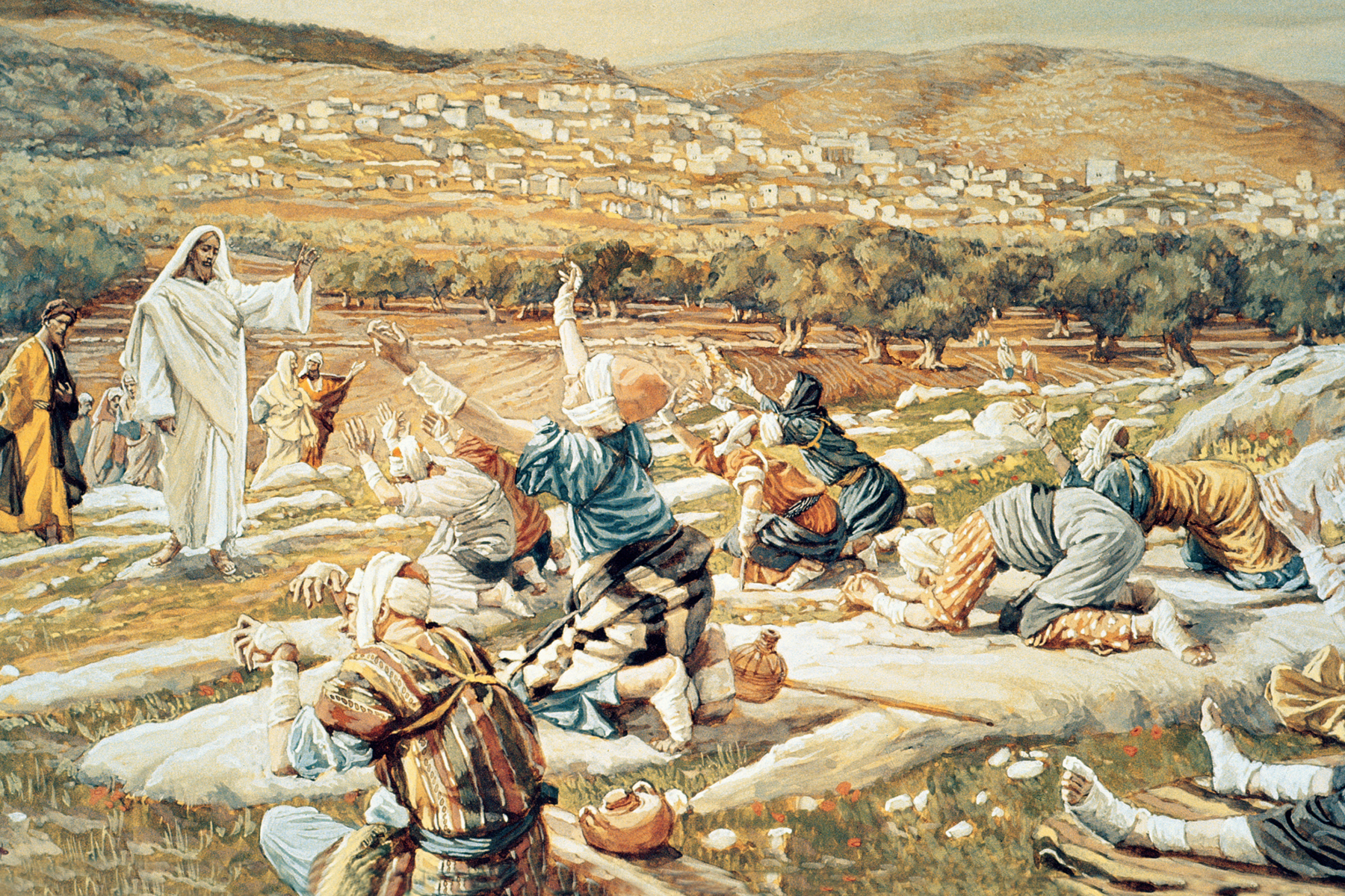 """""""The Healing of the Ten Lepers,"""" by artist James Tissot"""