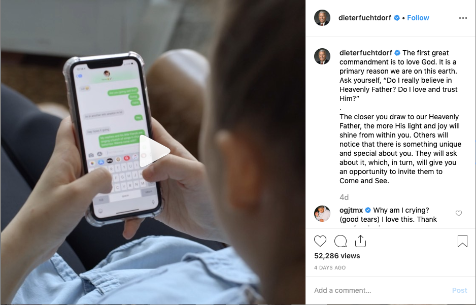 "Elder Dieter F. Uchtdorf encourages Church members to issue the invitation to ""Come and See"" in an Instagram post sharing the first of a series of three videos on missionary work."