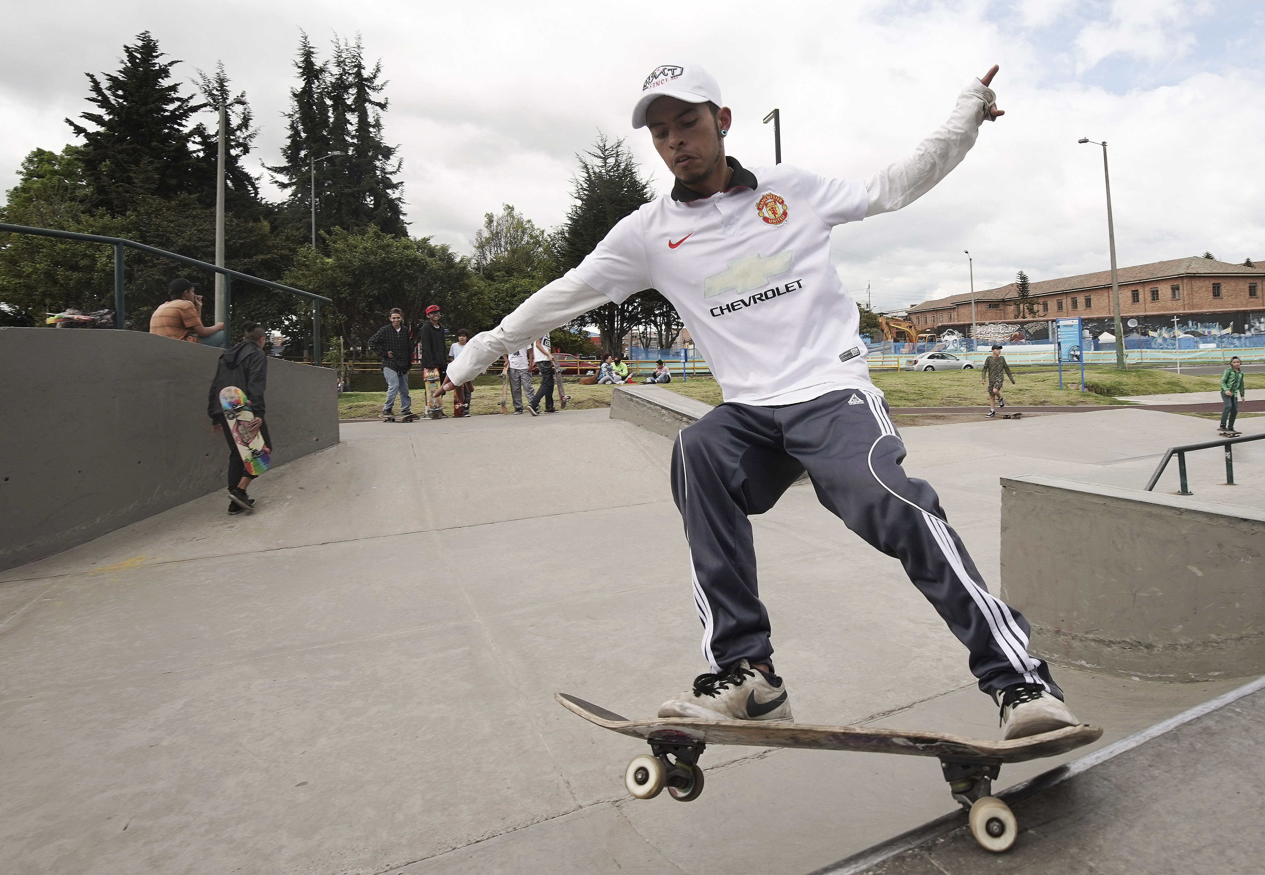 A skater jumps in a park in Bogota, Colombia, on Sunday, Aug. 25, 2019. President Russell M. Nelson of The Church of Jesus Christ of Latter-day Saints spoke in a devotional in the city.