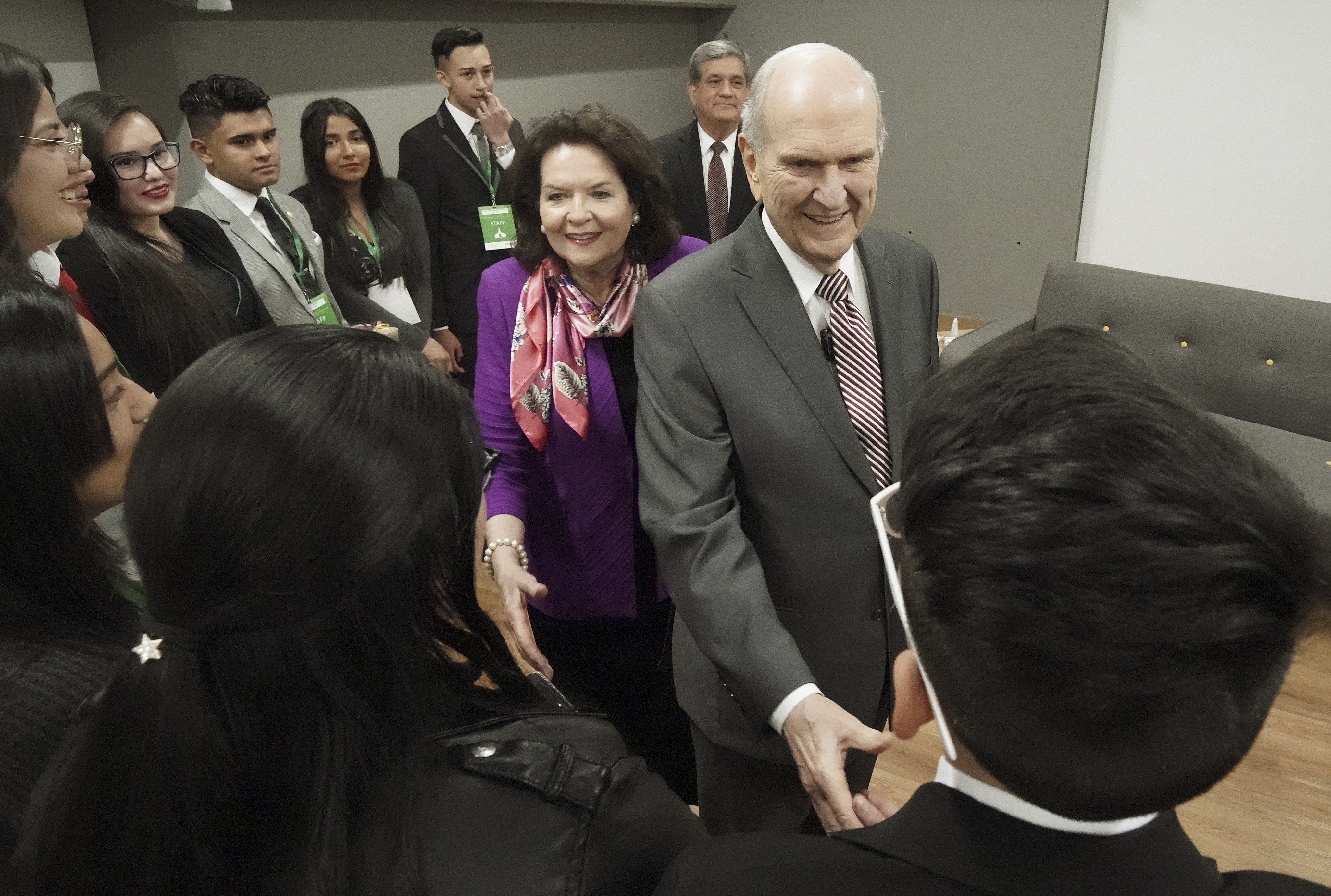 President Russell M. Nelson of The Church of Jesus Christ of Latter-day Saints and his wife, Sister Wendy Nelson, meet with youth in Bogota, Colombia, on Sunday, Aug. 25, 2019.