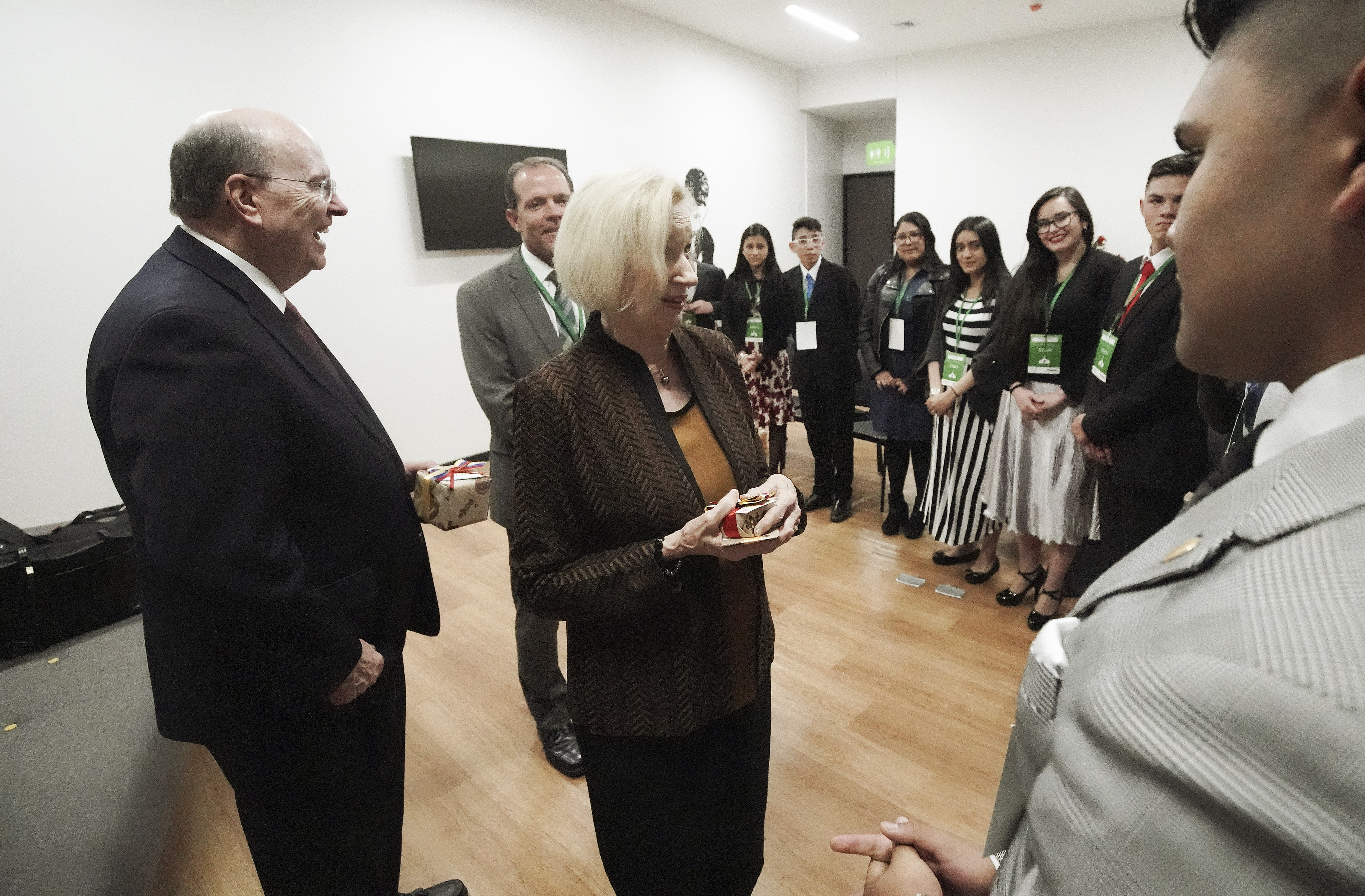 Elder Quentin L. Cook of the Quorum of the Twelve Apostles of The Church of Jesus Christ of Latter-day Saints and his wife, Sister Mary Cook, meet with youth in Bogota, Colombia, on Sunday, Aug. 25, 2019.