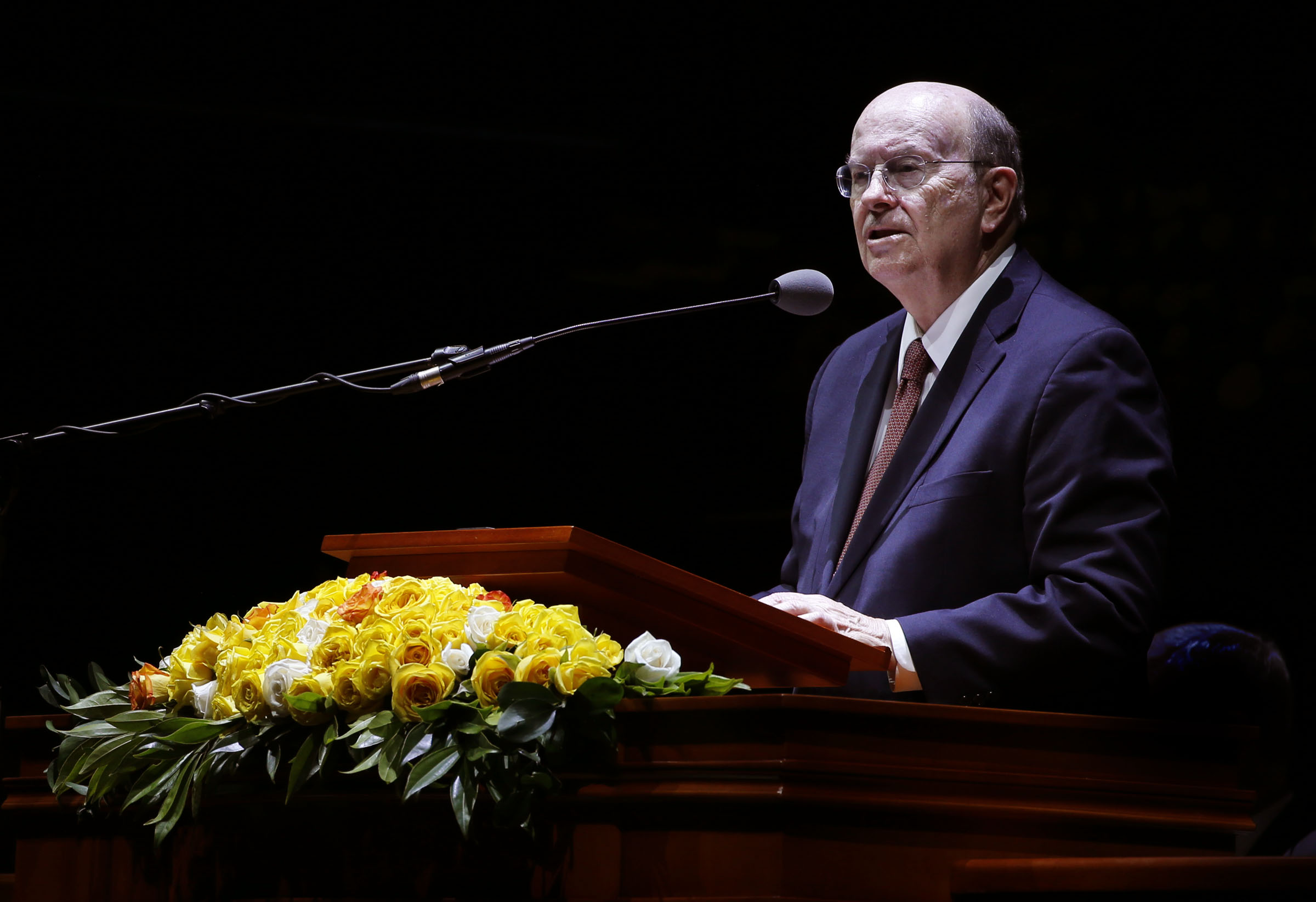 Elder Quentin L. Cook of the Quorum of the Twelve Apostles of The Church of Jesus Christ of Latter-day Saints speaks during a Latin America Ministry Tour devotional in Bogota, Colombia on Sunday, Aug. 25, 2019.