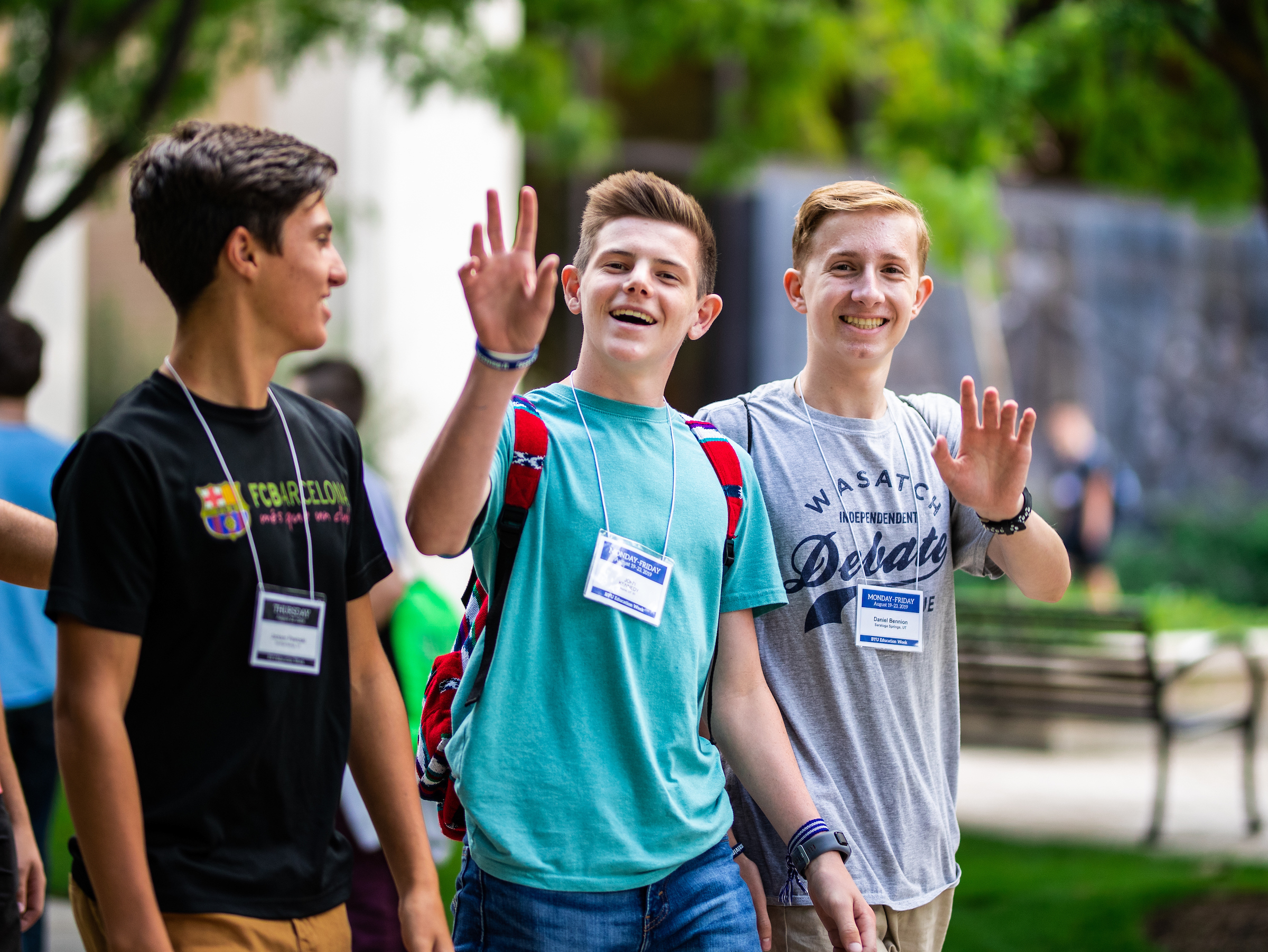 Some young men walk between sessions during BYU Education Week on Aug. 22, 2019, on the BYU campus in Provo, Utah. The annual event is open to anyone age 14 and older.