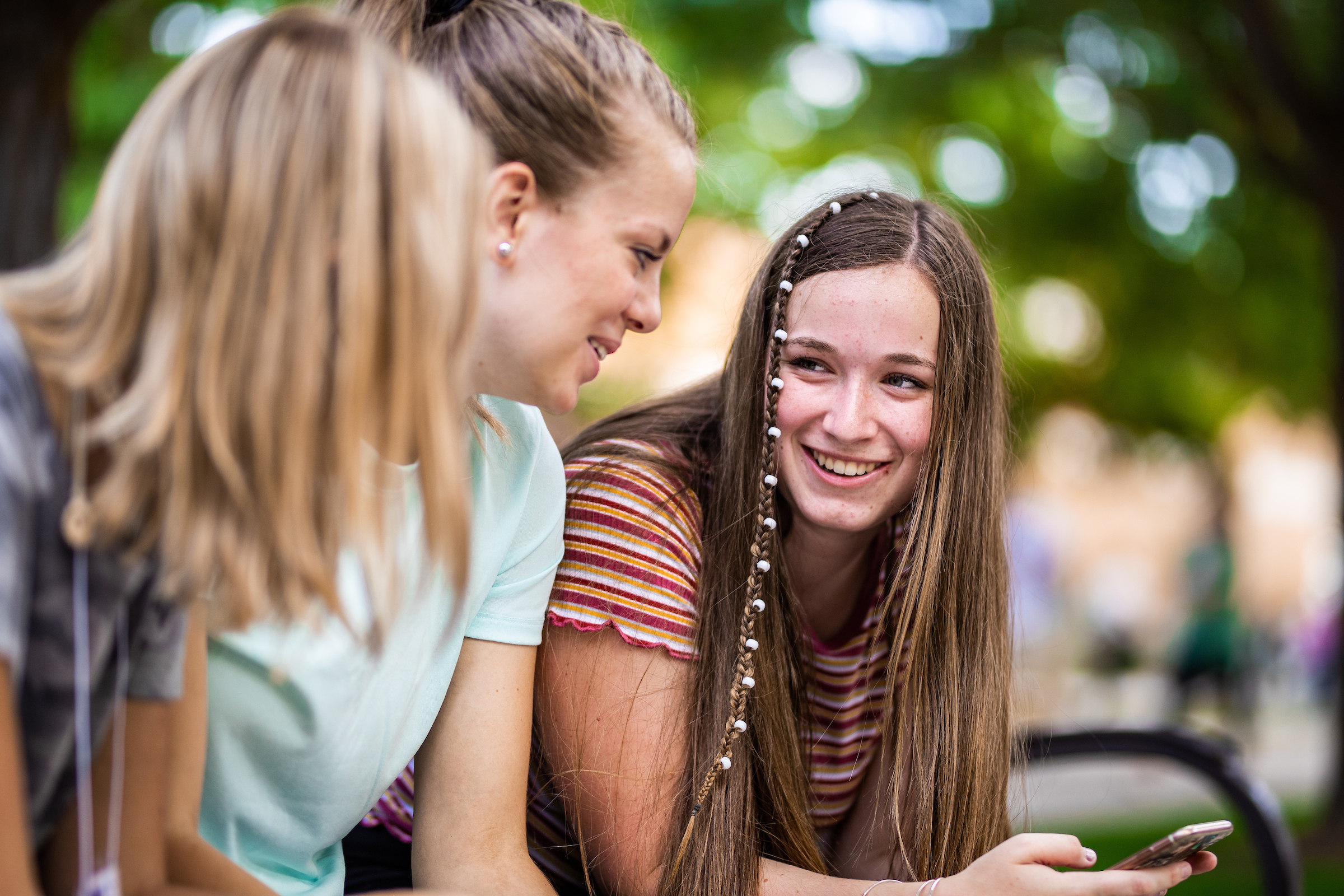 Some young women socialize between sessions during BYU Education Week on Aug. 22, 2019, on the BYU campus in Provo, Utah. The annual event is open to anyone age 14 and older.