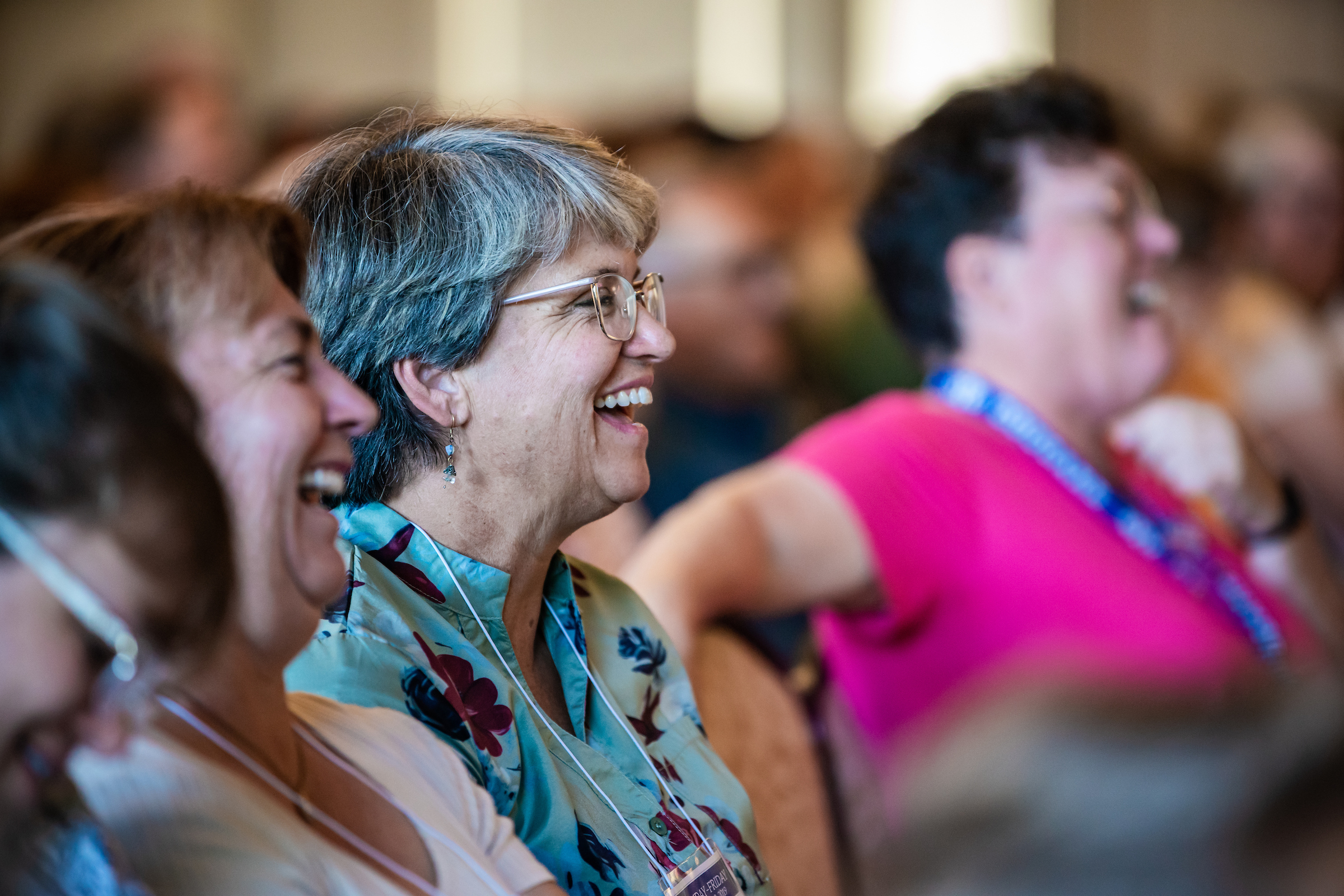 Attendees laugh during a class as part of BYU Education Week on Aug. 21, 2019, at BYU campus in Provo, Utah.