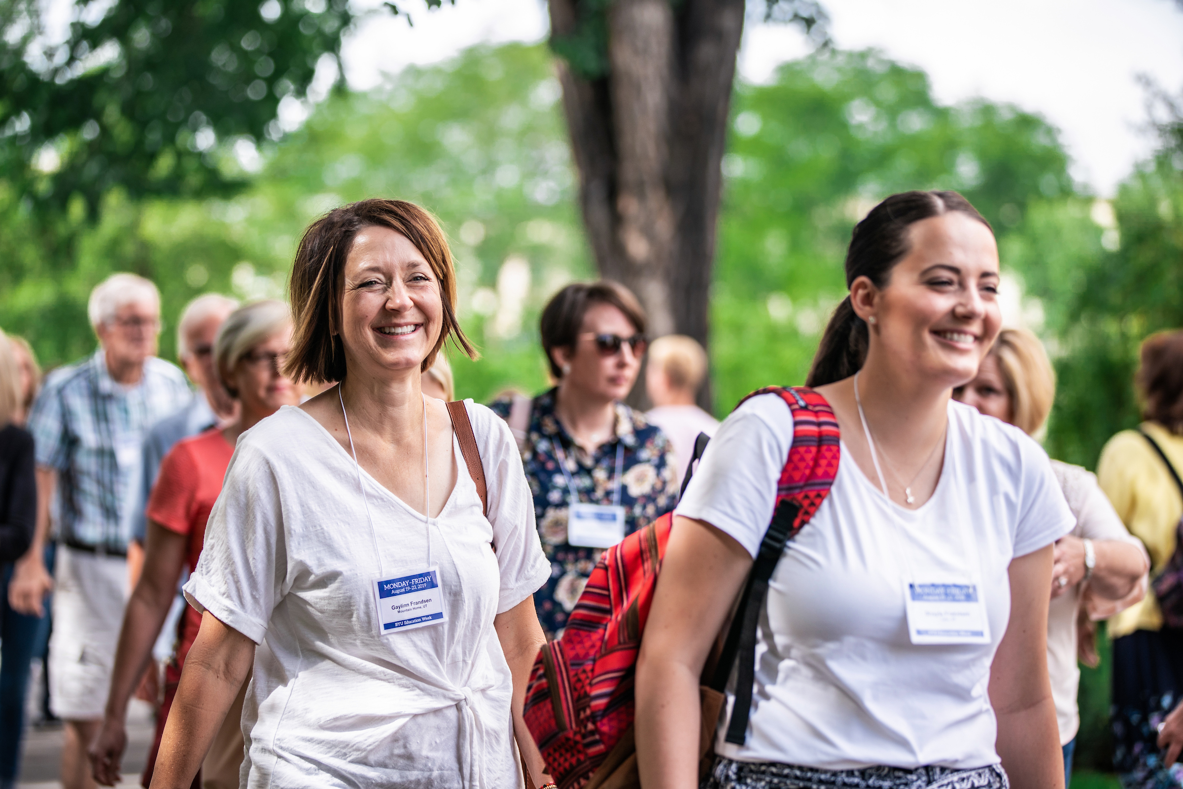 Attendees walk between sessions during BYU Education Week on Aug. 23, 2019, on the BYU campus in Provo, Utah. The annual event was held Aug. 19-23, 2019.