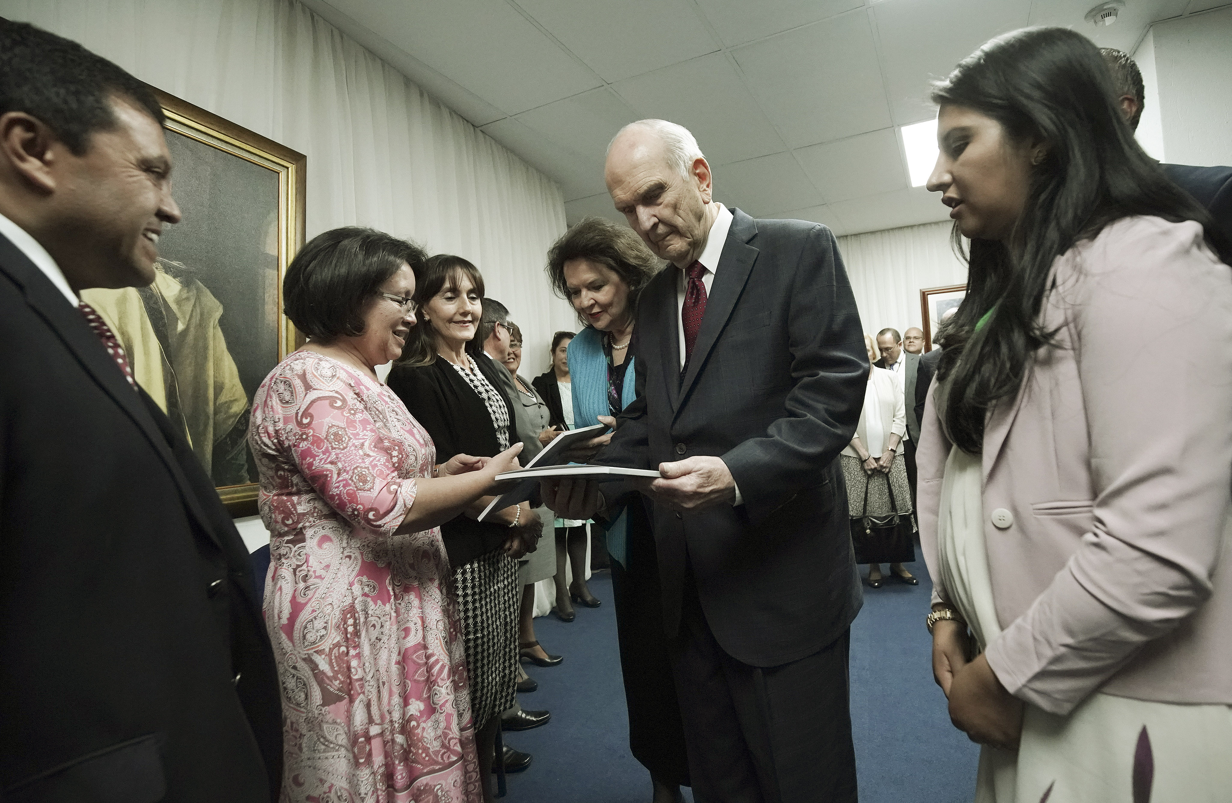 President Russell M. Nelson of The Church of Jesus Christ of Latter-day Saints visits with people prior to a devotional in Quito, Ecuador, on Monday, Aug. 26, 2019.