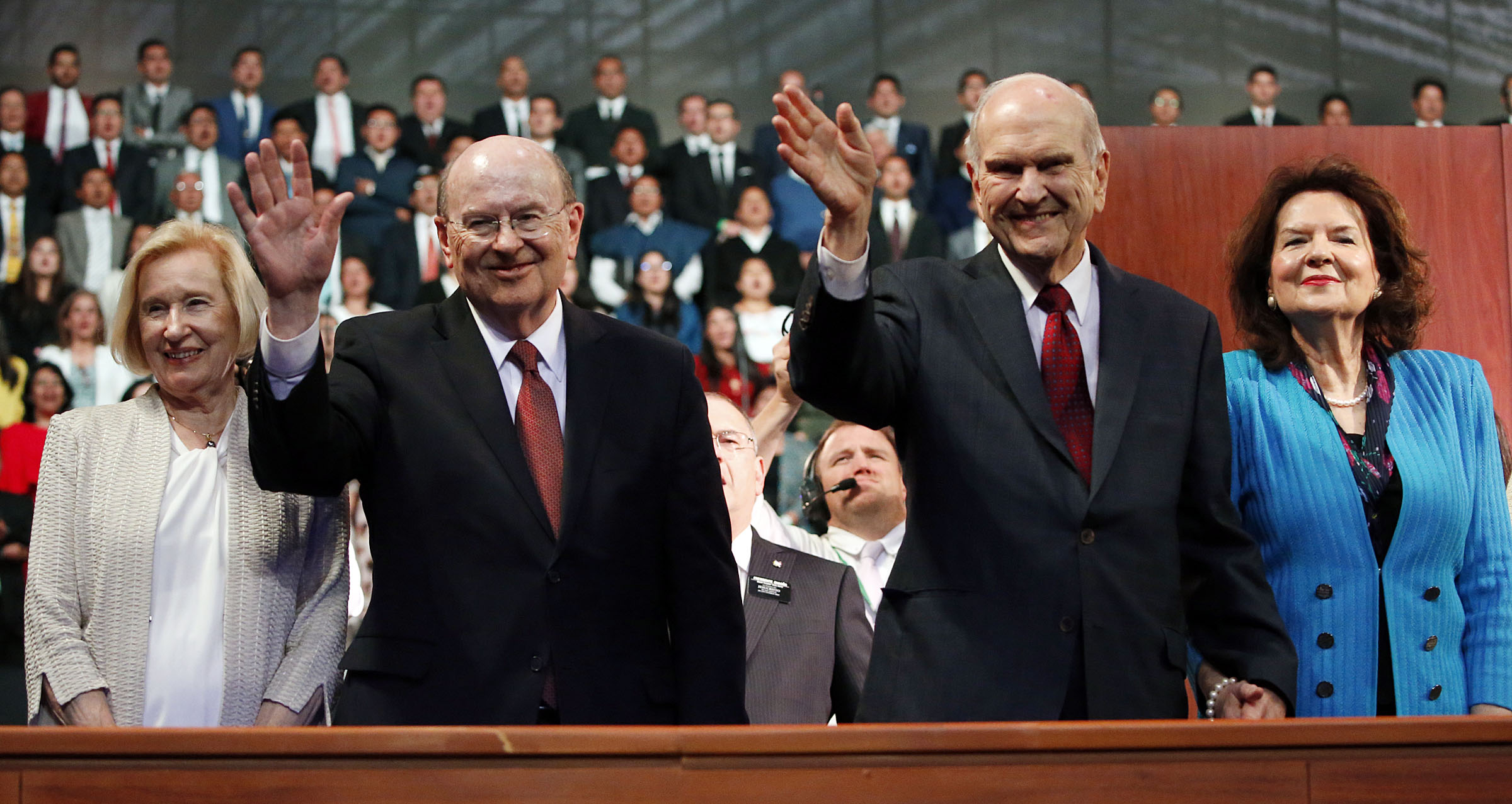 President Russell M. Nelson of The Church of Jesus Christ of Latter-day Saints and his wife, Sister Wendy Nelson, right, along with Elder Quentin L. Cook of the Quorum of the Twelve Apostles and his wife, Sister Mary G. Cook, say goodbye at the end of a Latin America Ministry devotional in Quito, Ecuador, on Monday, Aug. 26, 2019.