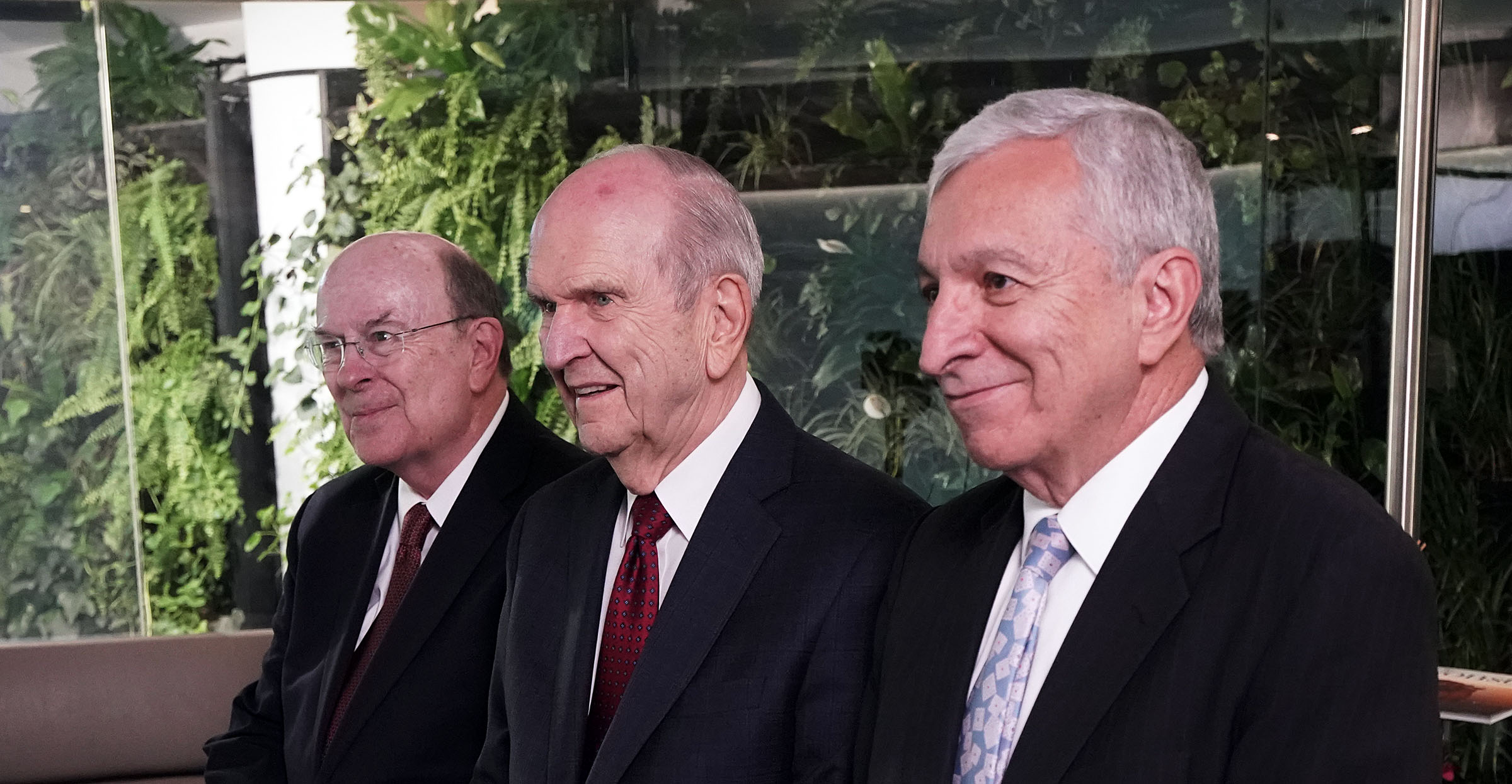 President Russell M. Nelson of The Church of Jesus Christ of Latter-day Saints, center, answers a question during an interview in Bogota, Colombia, on Monday, Aug. 26, 2019. At left is Elder Quentin L. Cook of the Quorum of the Twelve Apostles. At right is Elder Enrique R. Falabella, a General Authority Seventy. They previously met with President Ivan Duque of Colombia.