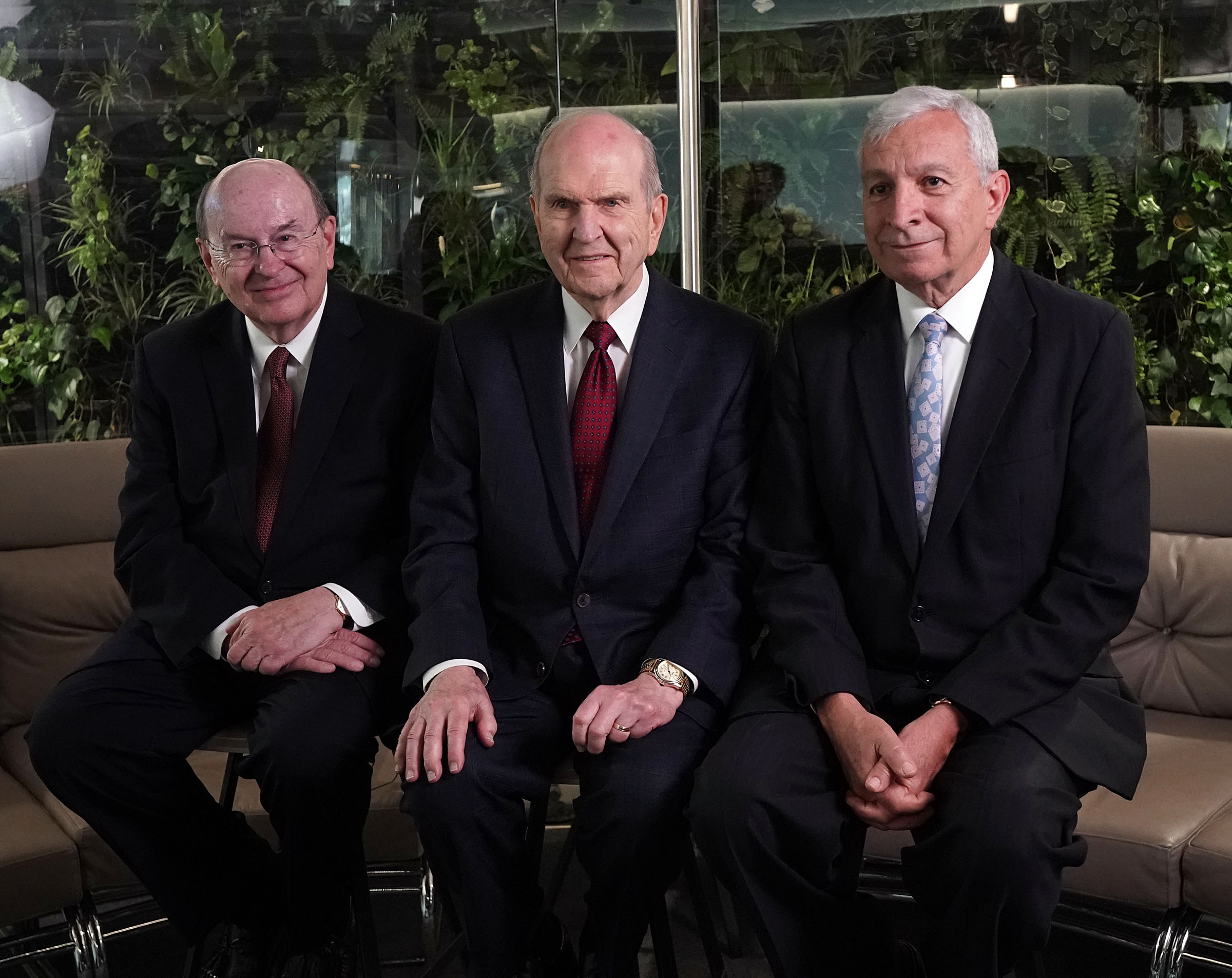 President Russell M. Nelson of The Church of Jesus Christ of Latter-day Saints, center, during an interview in Bogota, Colombia, on Monday, Aug. 26, 2019. At left is Elder Quentin L. Cook of the Quorum of the Twelve Apostles. At right is Elder Enrique R. Falabella, General Authority Seventy. They previously met with President Ivan Duque of Colombia.