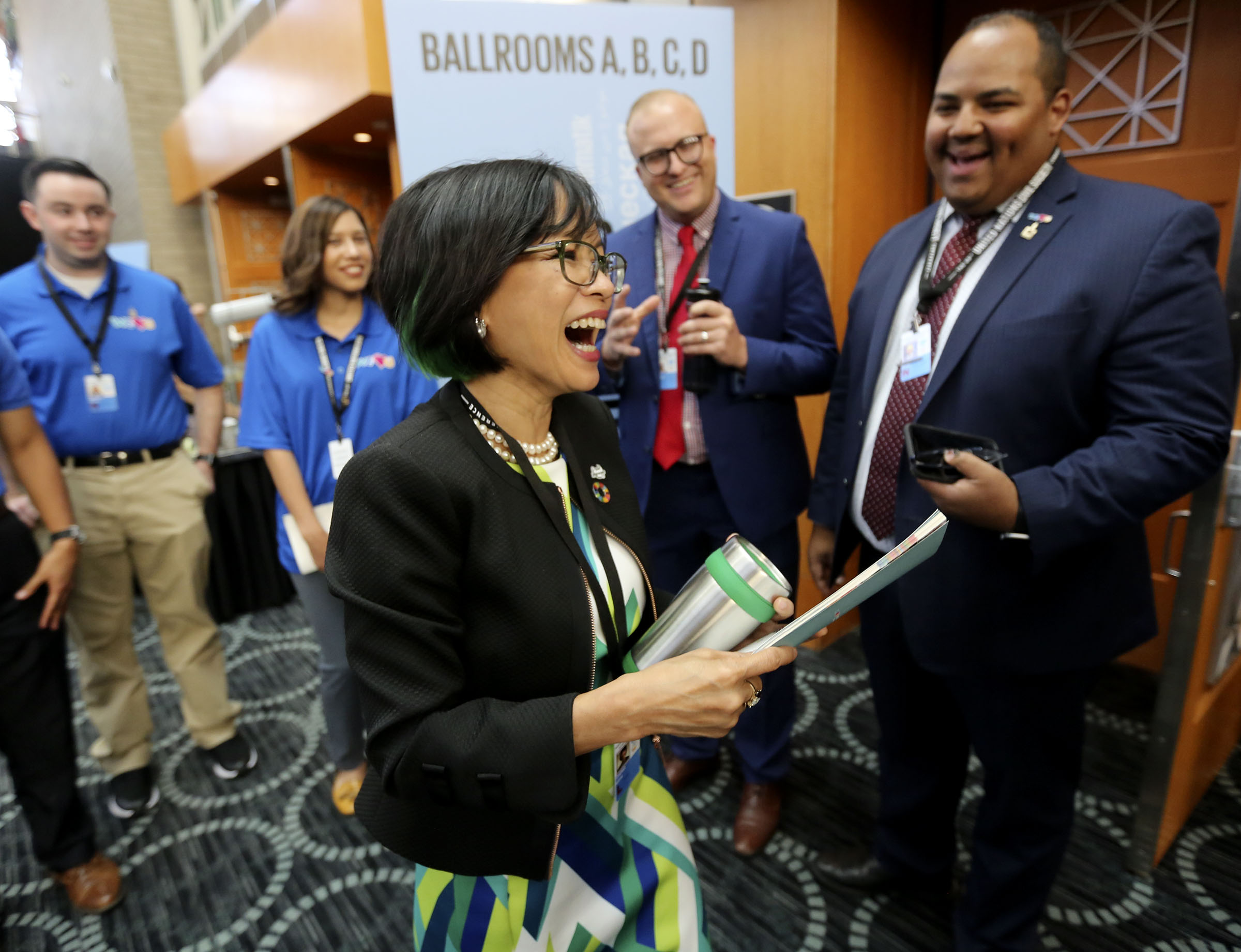 Utah Valley University President Astrid Tuminez meets with attendees after moderating the Building Inclusive Communities Through Education panel at the 68th United Nations Civil Society Conference at the Salt Palace Convention Center in Salt Lake City on Monday, Aug. 26, 2019.