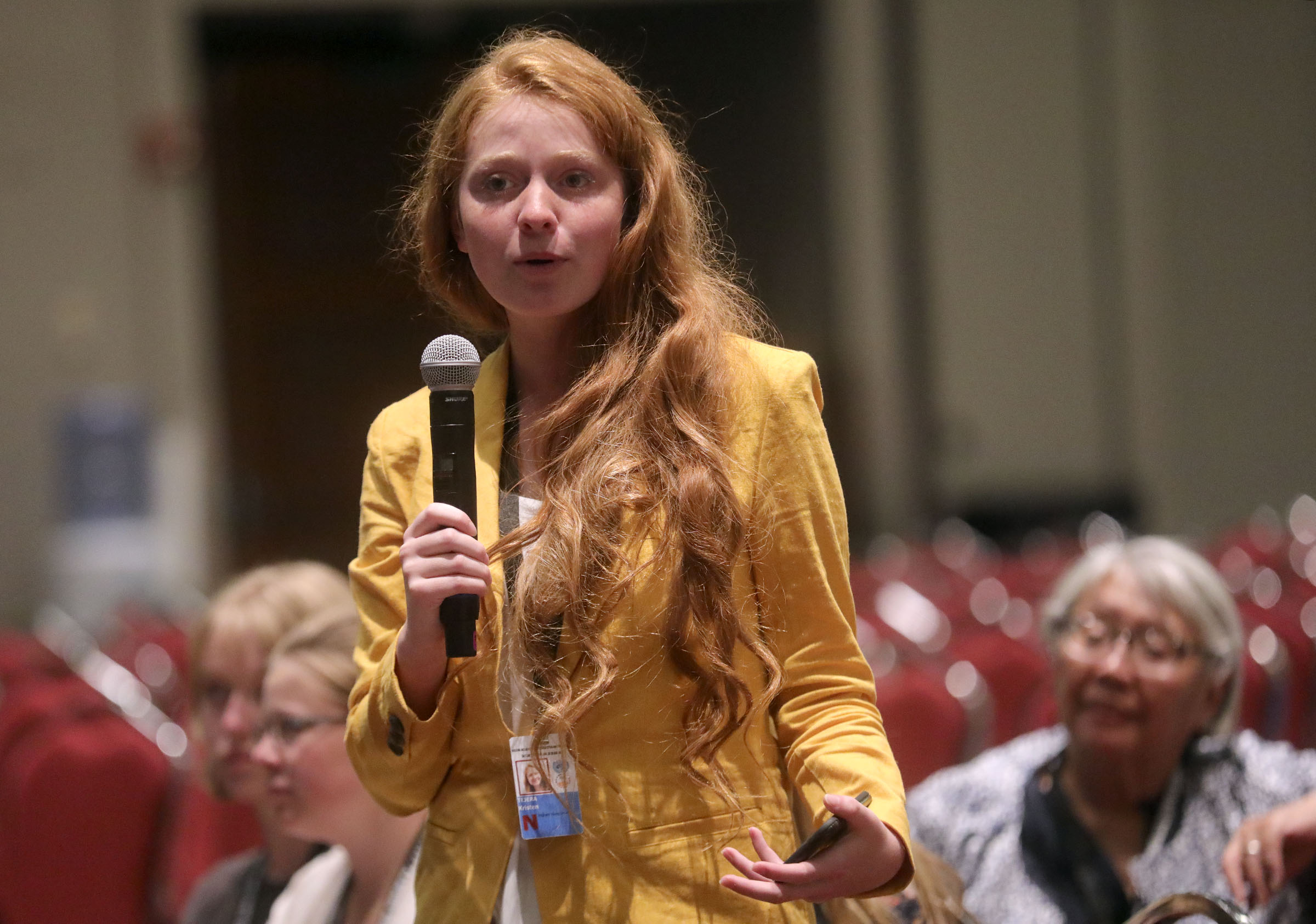 BYU freshman Kristen Tejera asks panelists a question during a thematic session titled Building Inclusive Communities Through Education at the 68th United Nations Civil Society Conference at the Salt Palace Convention Center in Salt Lake City on Monday, Aug. 26, 2019.